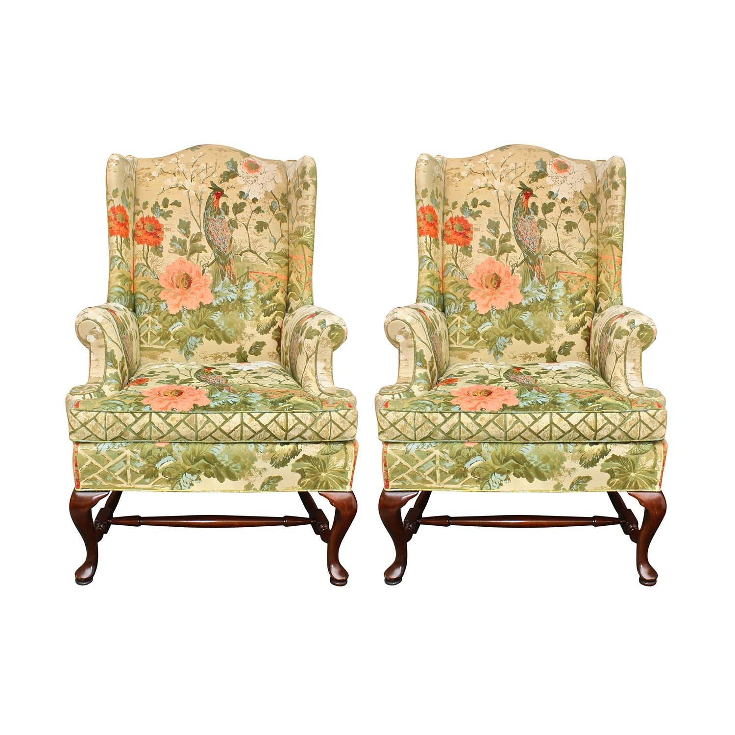 Queen Anne Hickory Upholstered Wing Back Chairs