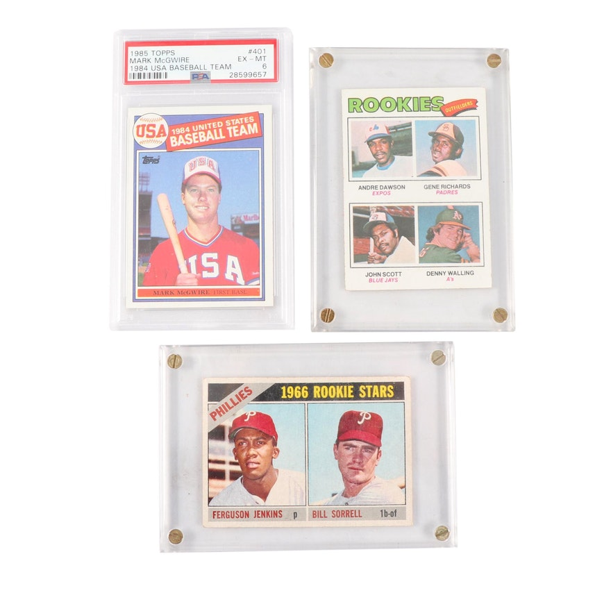 Vintage Topps Rookie Baseball Cards Including Psa Graded Mark Mcgwire