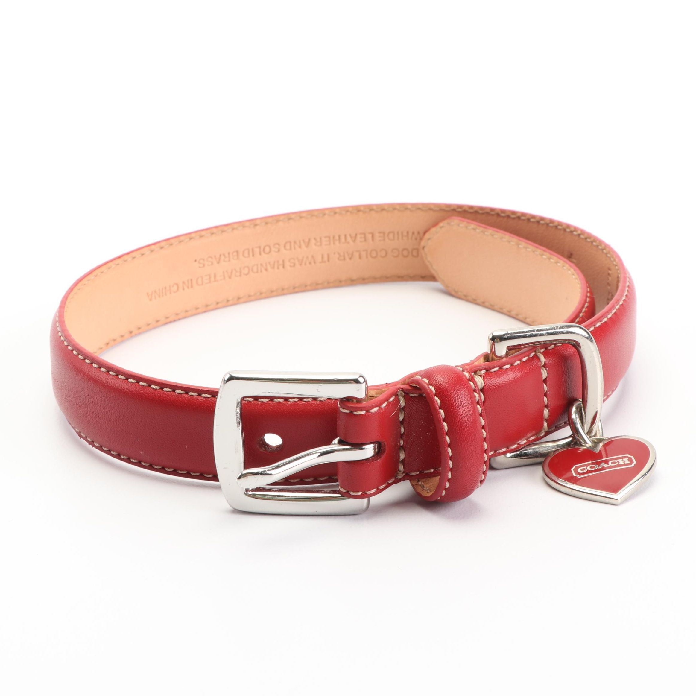 Coach Red Leather Dog Collar