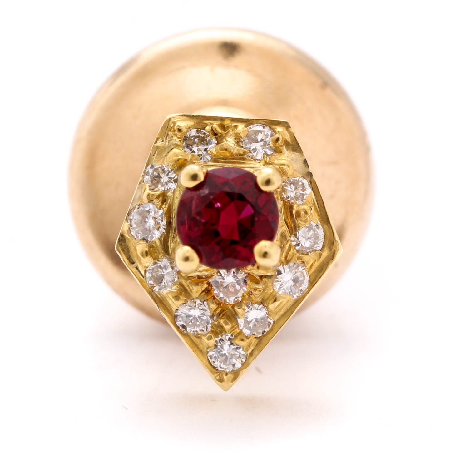 14K Yellow Gold Diamond and Ruby Tie Tack