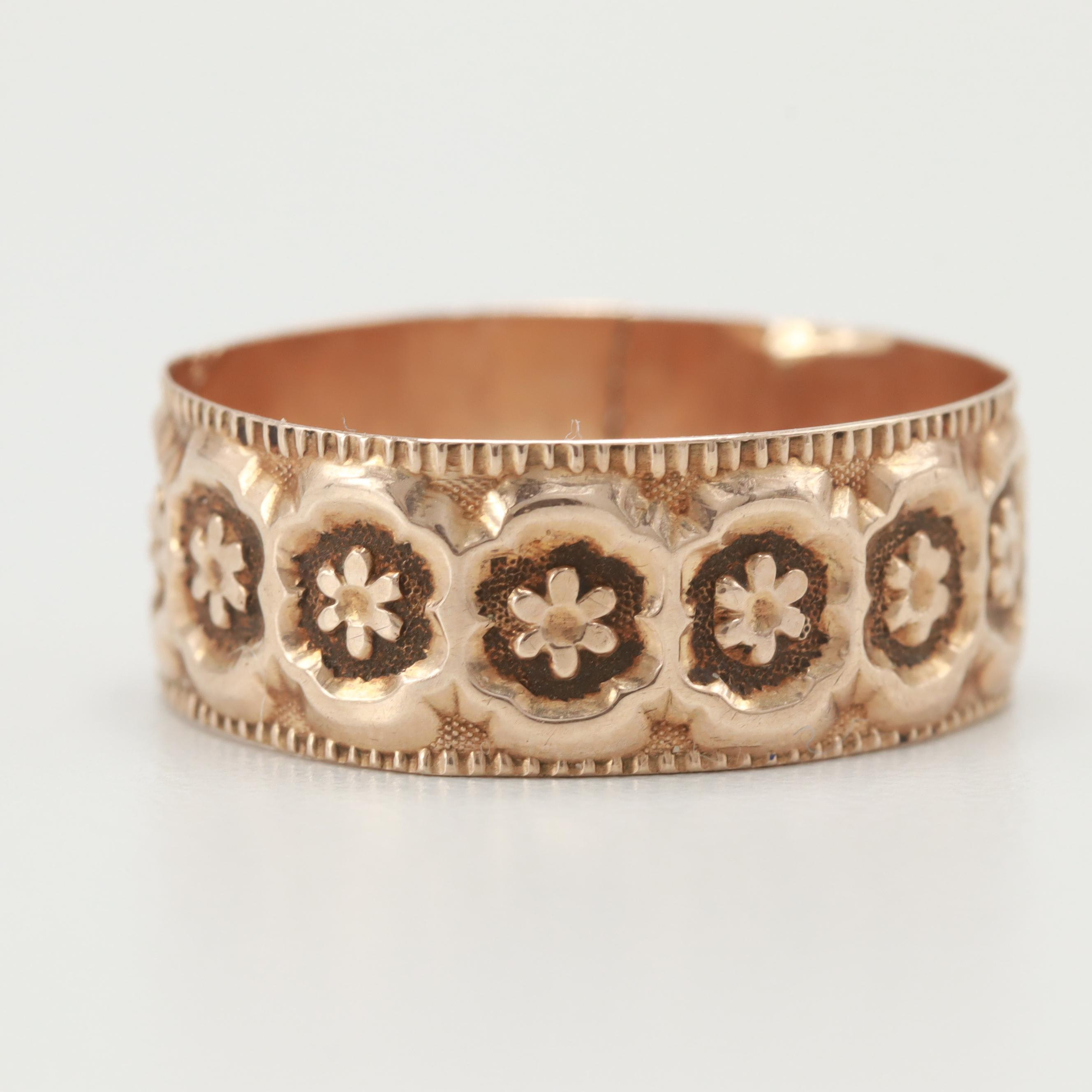 Victorian 10K Yellow Gold Stamped Floral Motif Ring