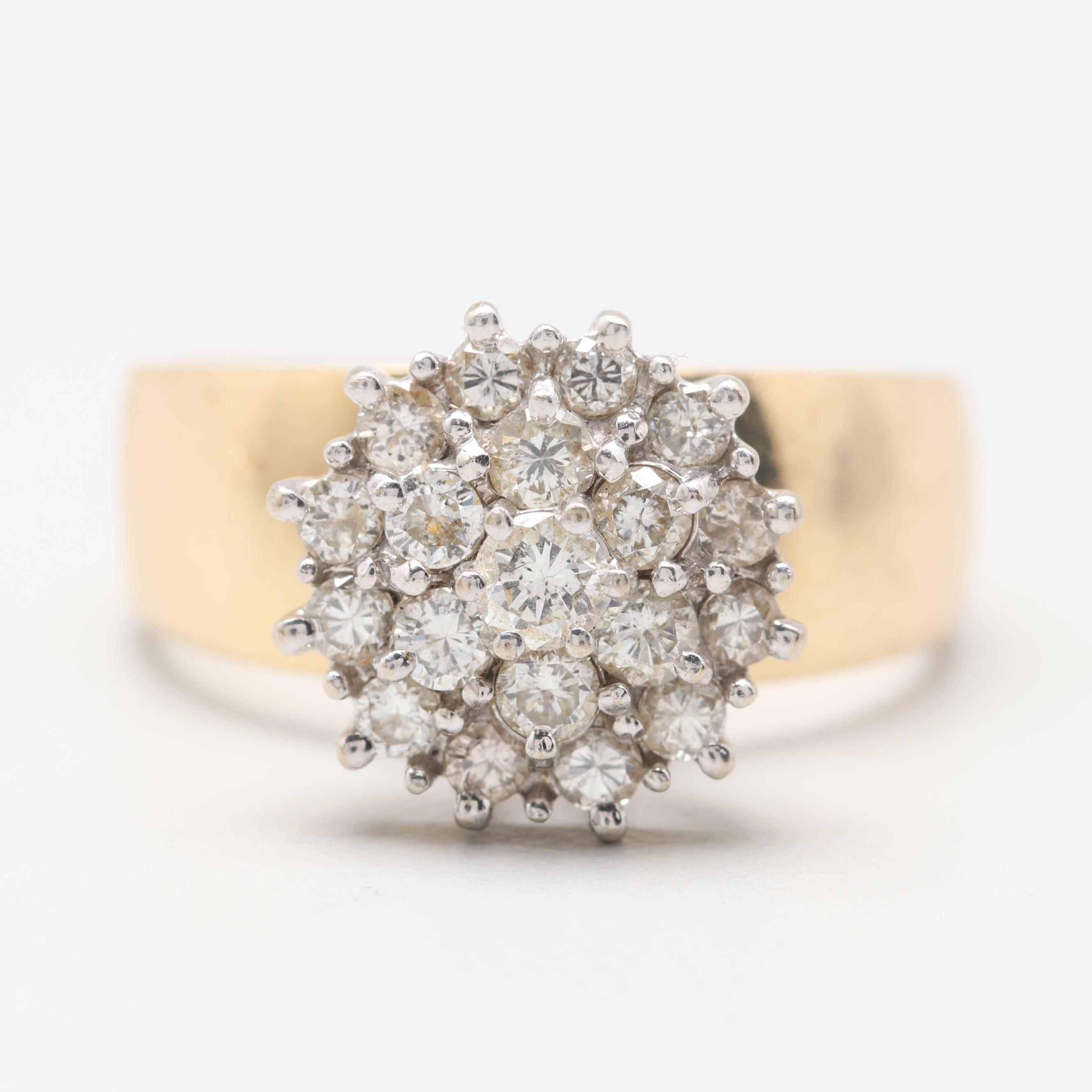 14K Yellow Gold 1.23 CTW Diamond Cluster Ring