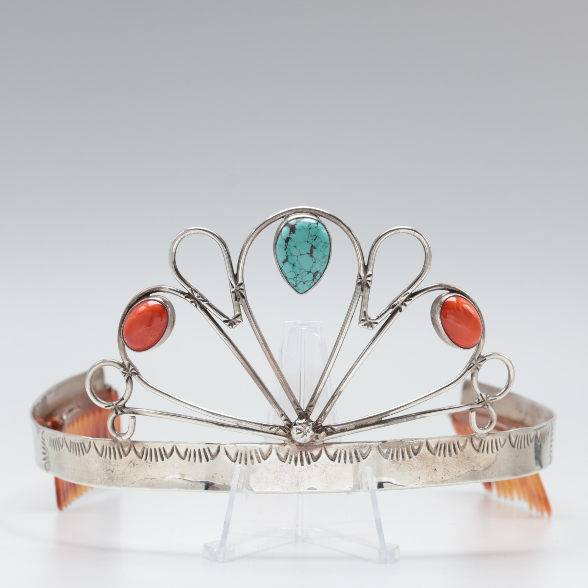 Tito Chavez Sterling Silver Turquoise and Coral Tiara