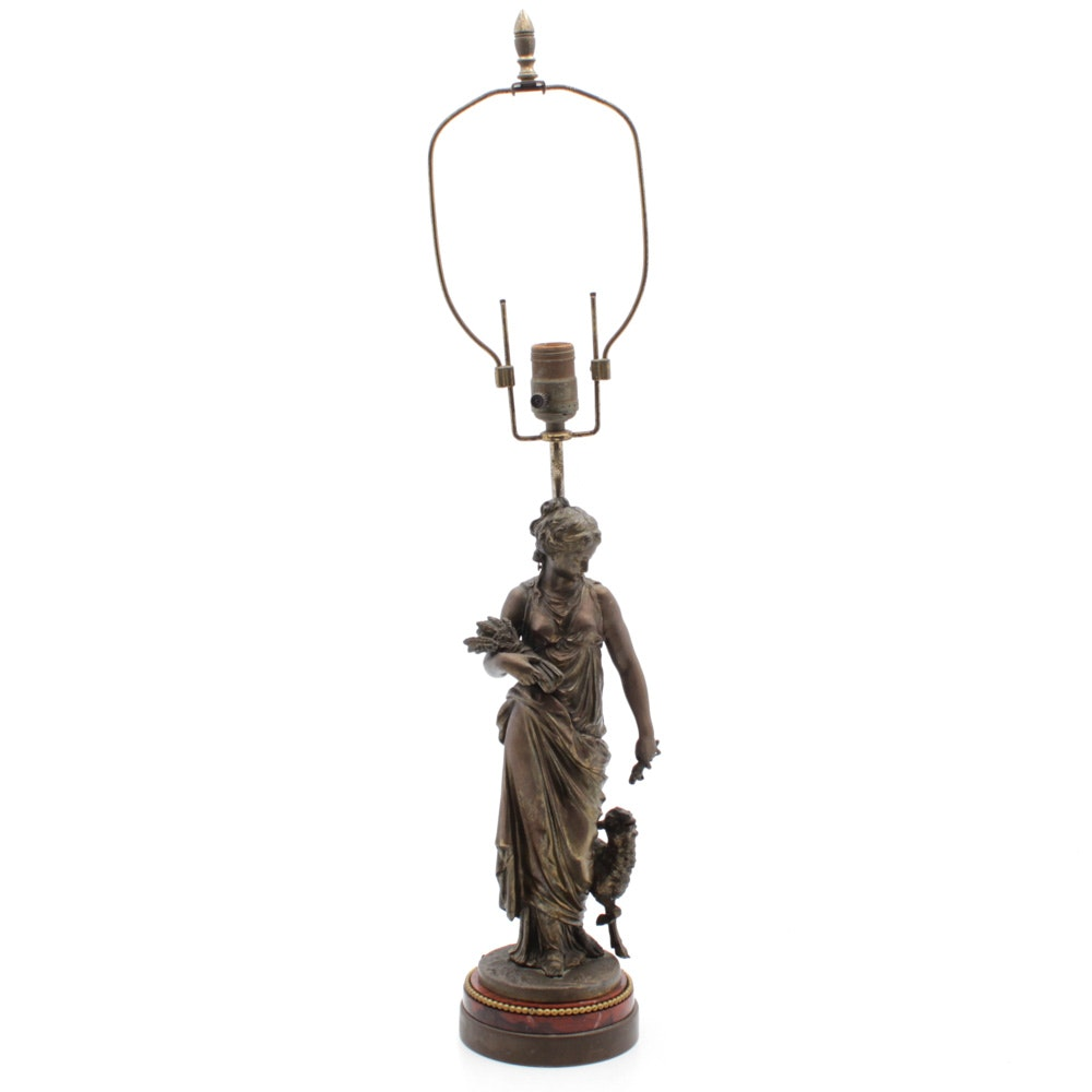 Antique Figural Bronzed NMS NY No.650 Table Lamp