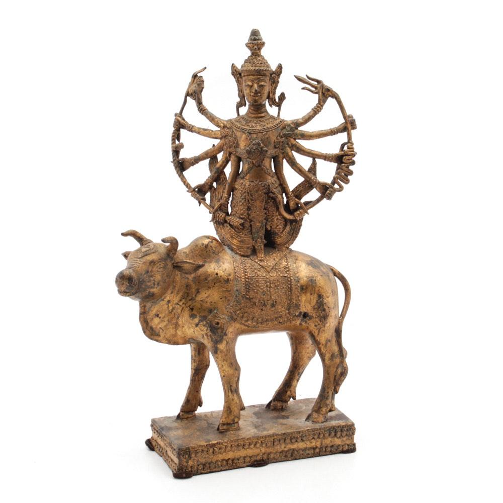 Antique Thai Gilt Brass Shiva Riding Bull Nandi Sculpture