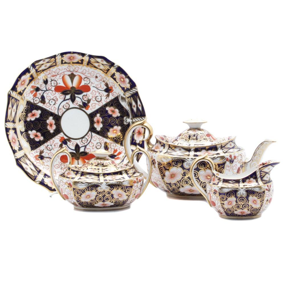 "Antique English Royal Crown Derby ""Imari"" Tea Set and Cake Plate"