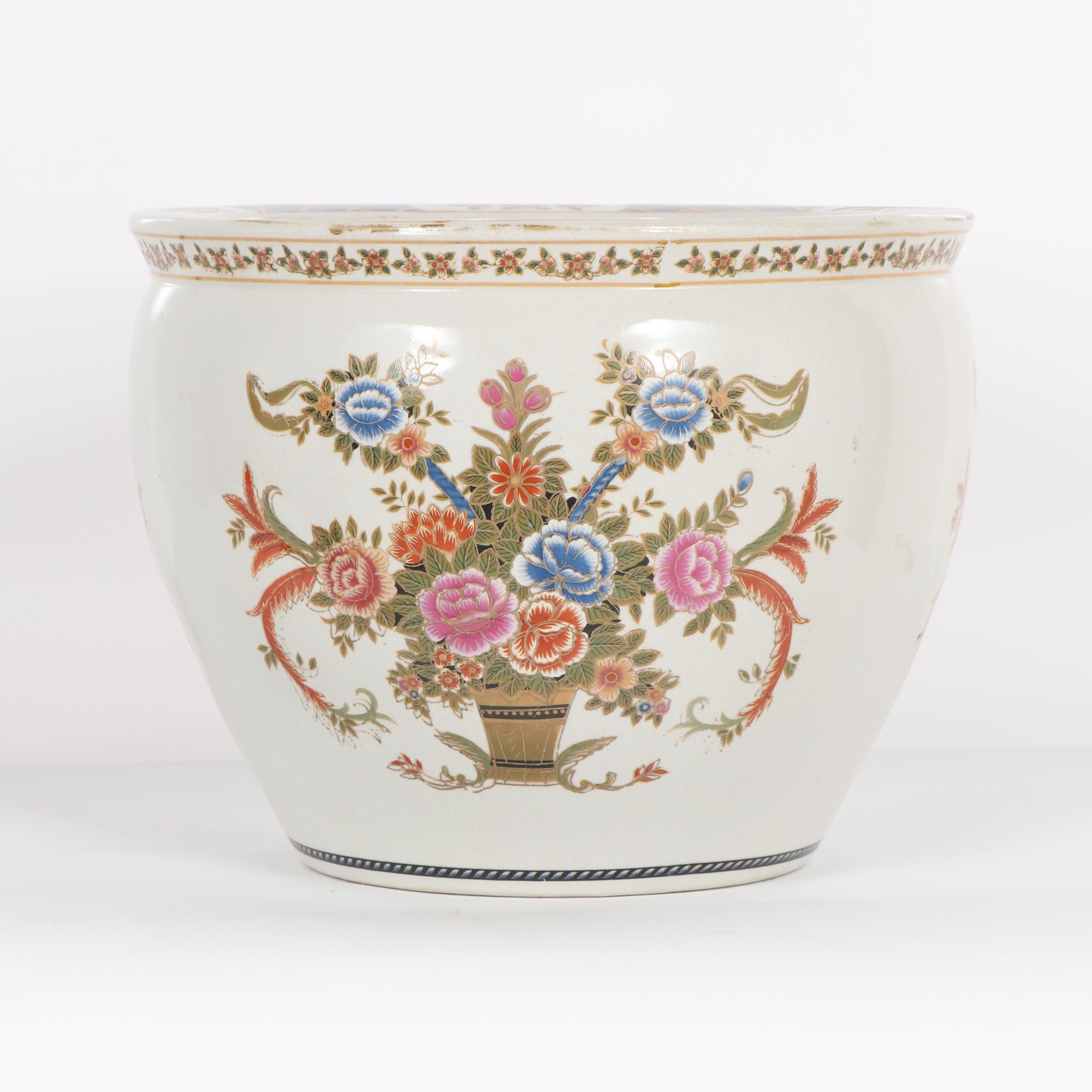 Chinese Floral Themed Fish Bowl Ceramic Planter