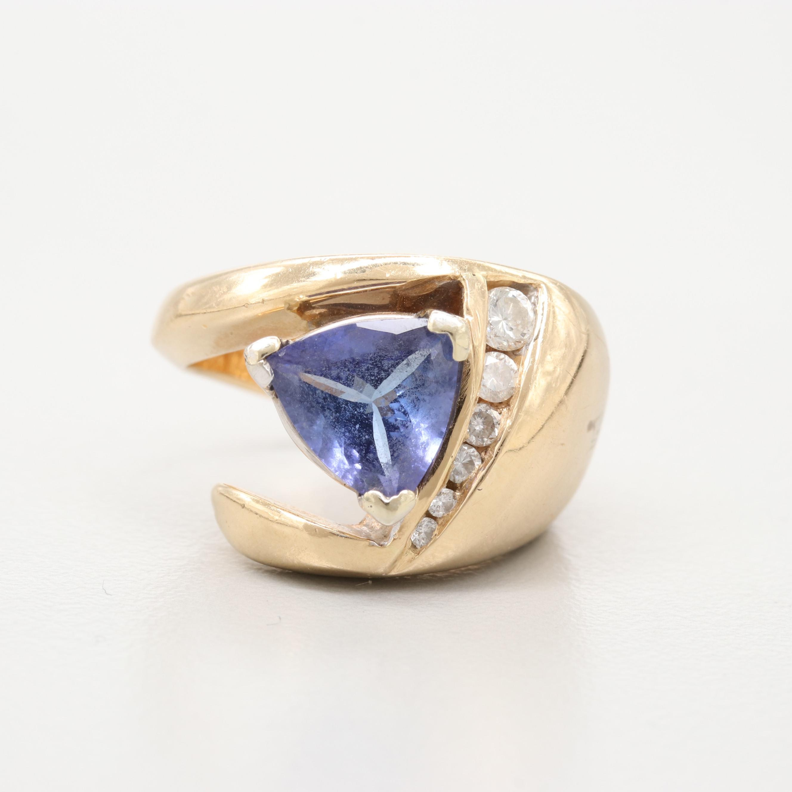 14K Yellow Gold 1.48 CT Tanzanite and Diamond Ring