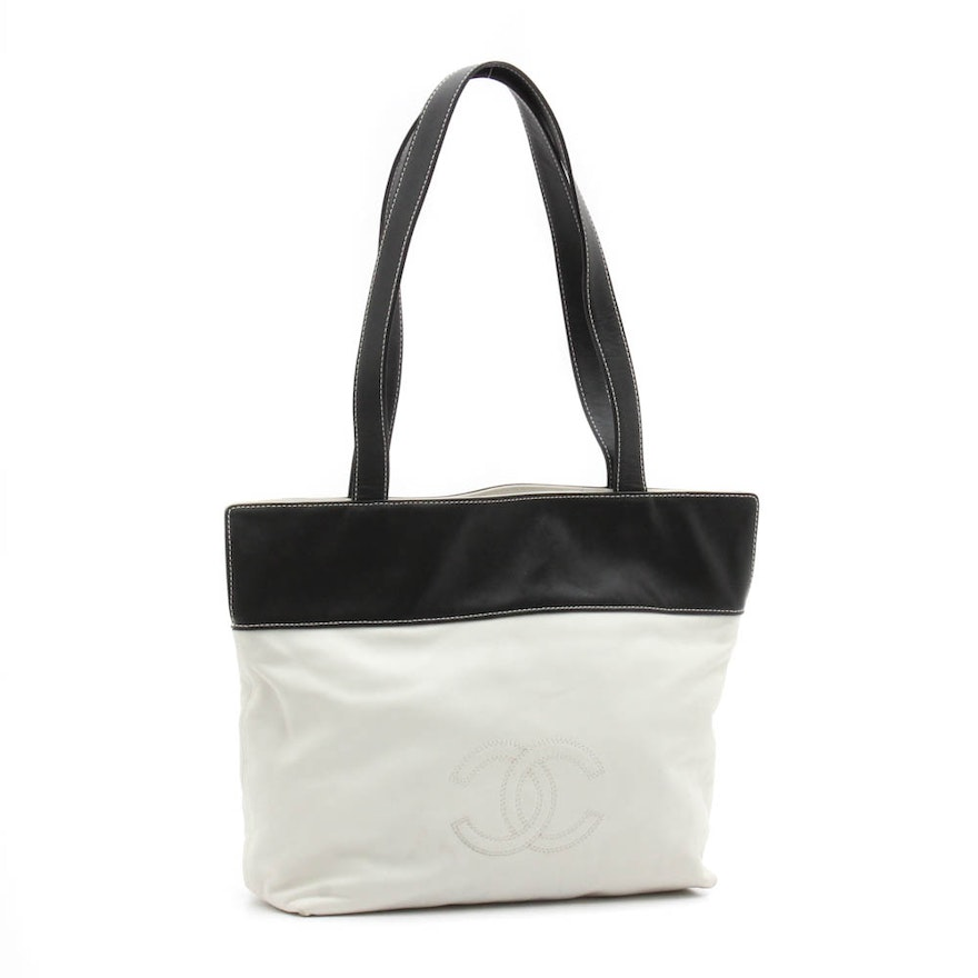 c00be063e68a46 Chanel Black and White Leather Tote Shoulder Bag : EBTH