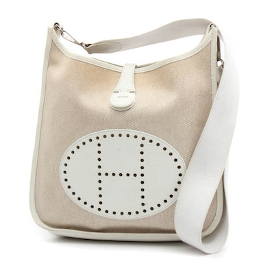 Hermès of Paris Evelyne II Toile Canvas and Clemence White Leather Shoulder  Bag 5e29cc2d4cf5b