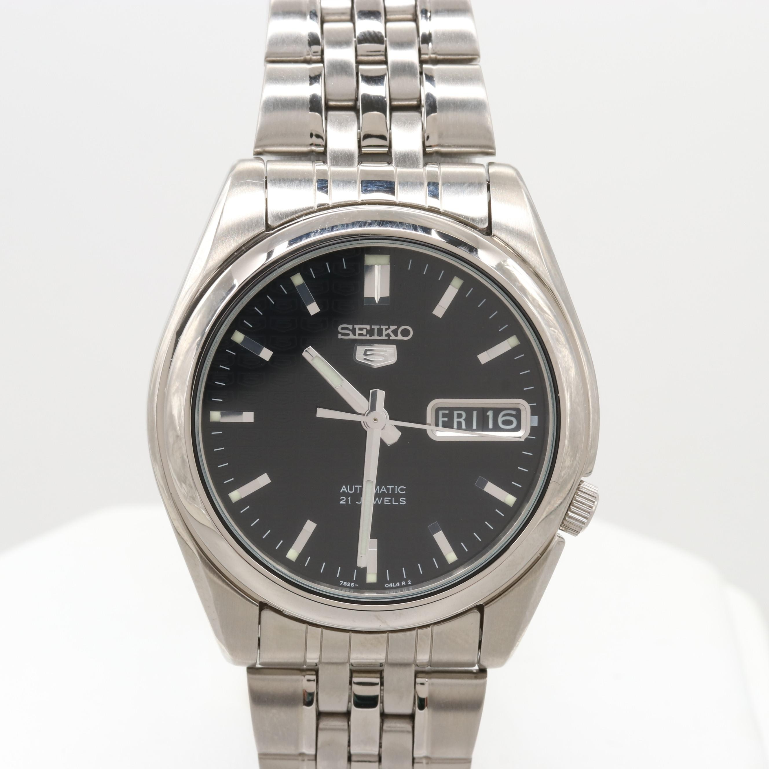 Seiko Stainless Steel Automatic Wristwatch With Day/Date Window