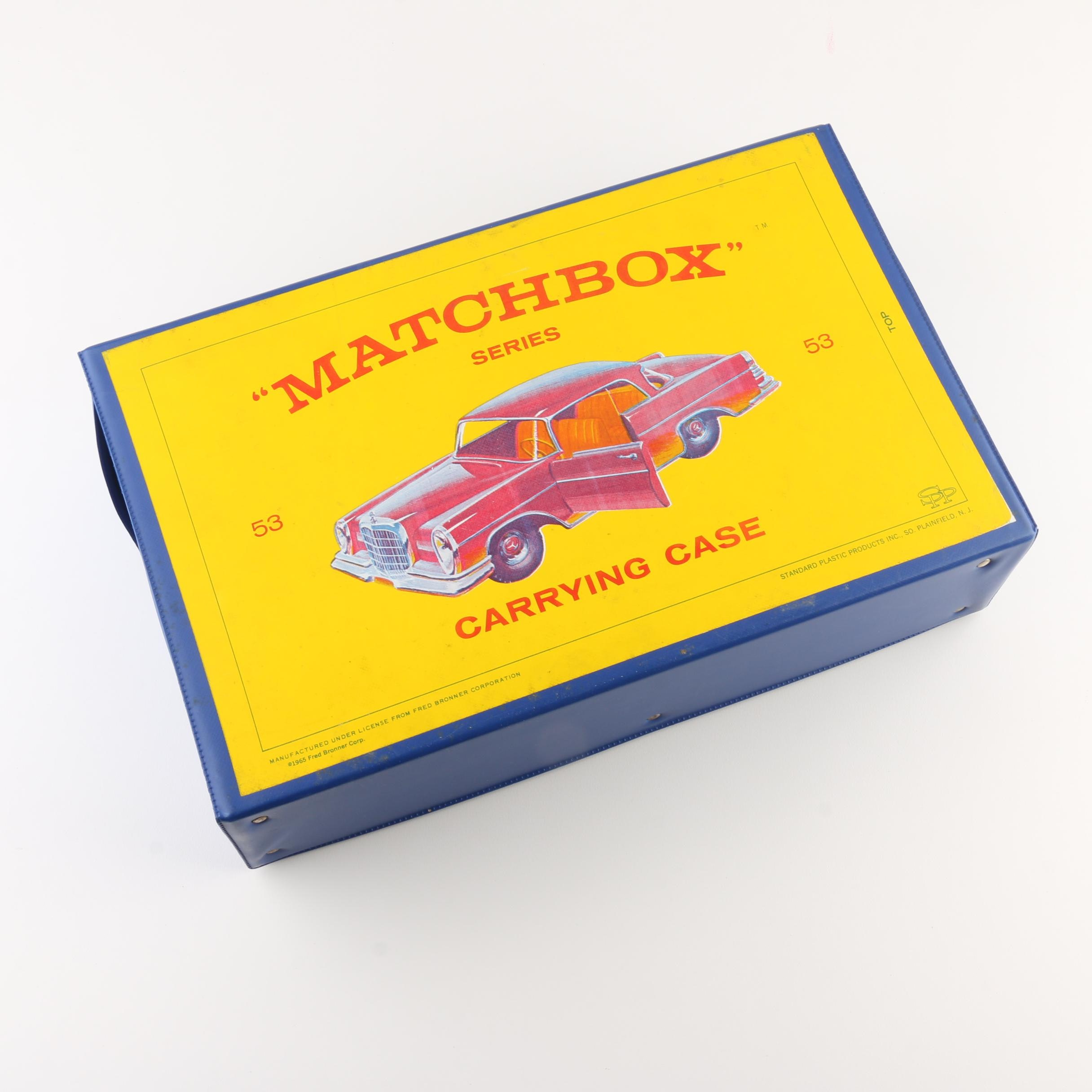 Group of 1960s Matchbox Cars with a Vintage Matchbox Carrying Case