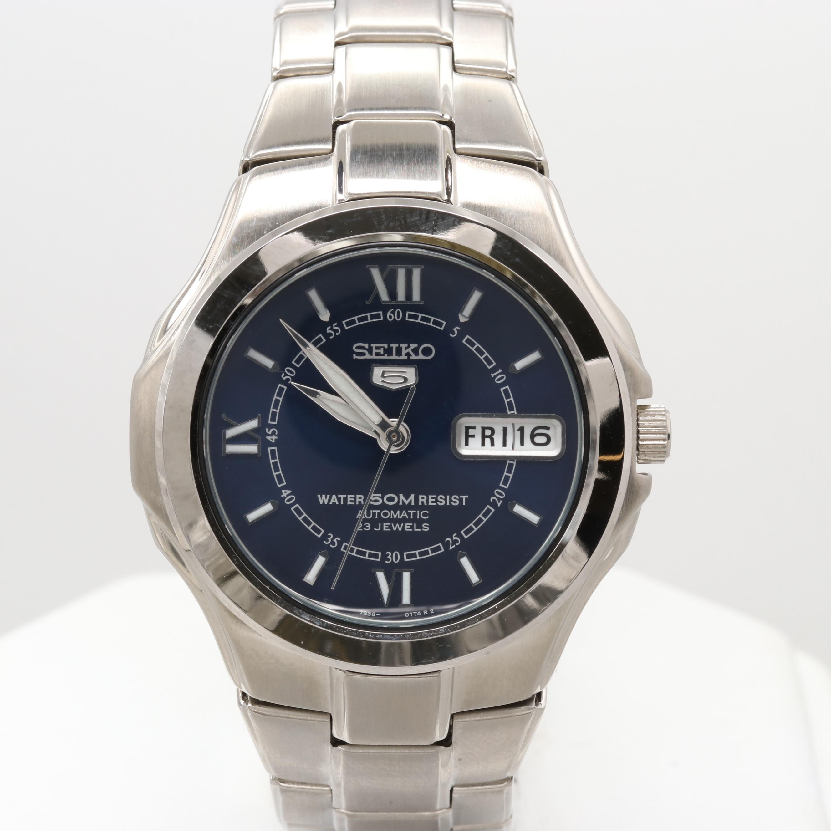 Seiko 5 Stainless Steel Wristwatch With Day/Date Window