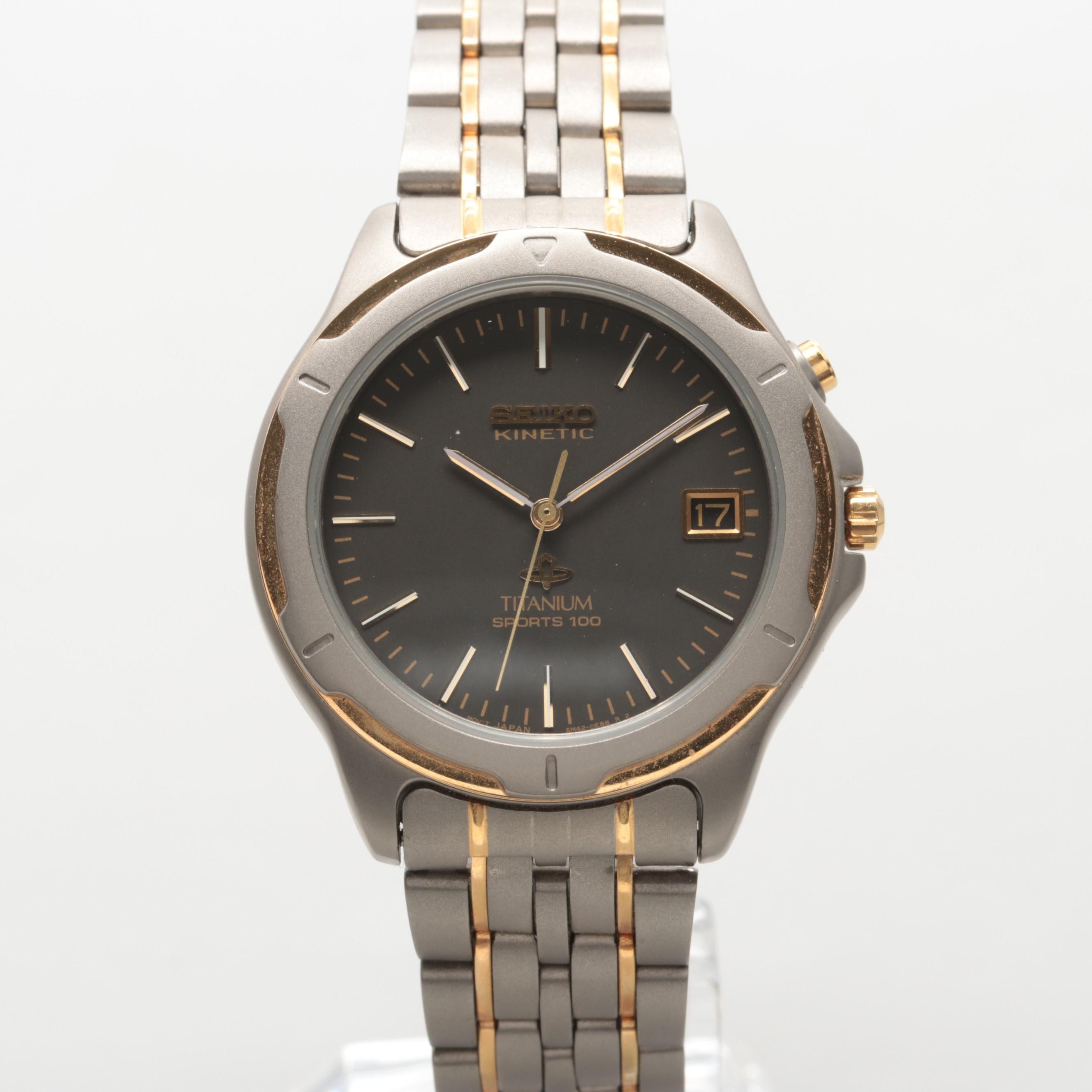 Seiko Two-Tone Kinetic Wristwatch With Date Window