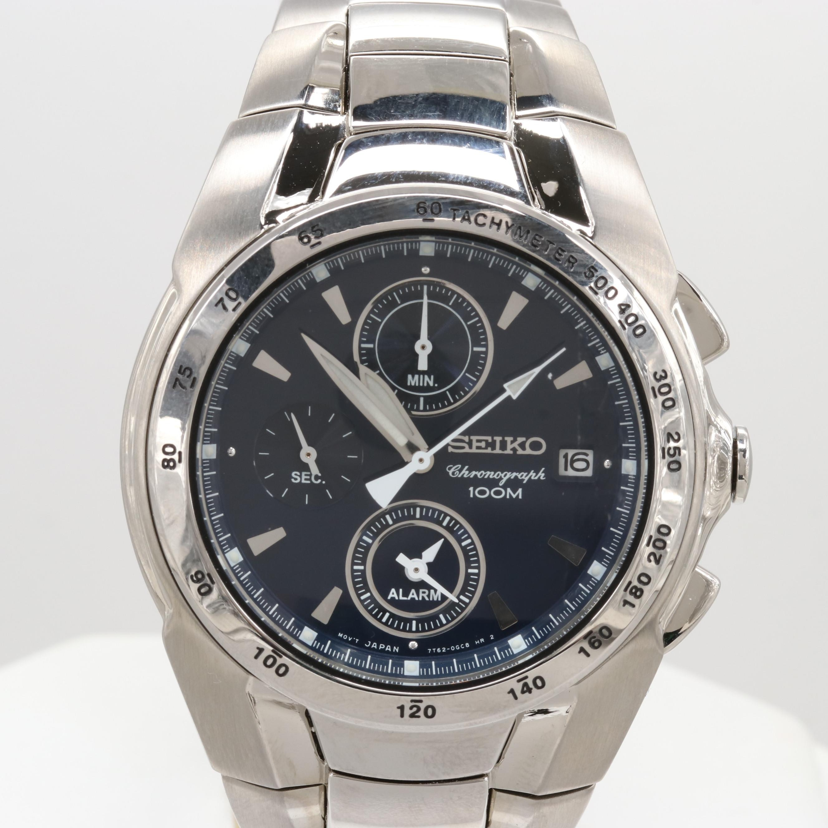 Seiko Stainless Steel Chronograph Wristwatch With Alarm and Date Window
