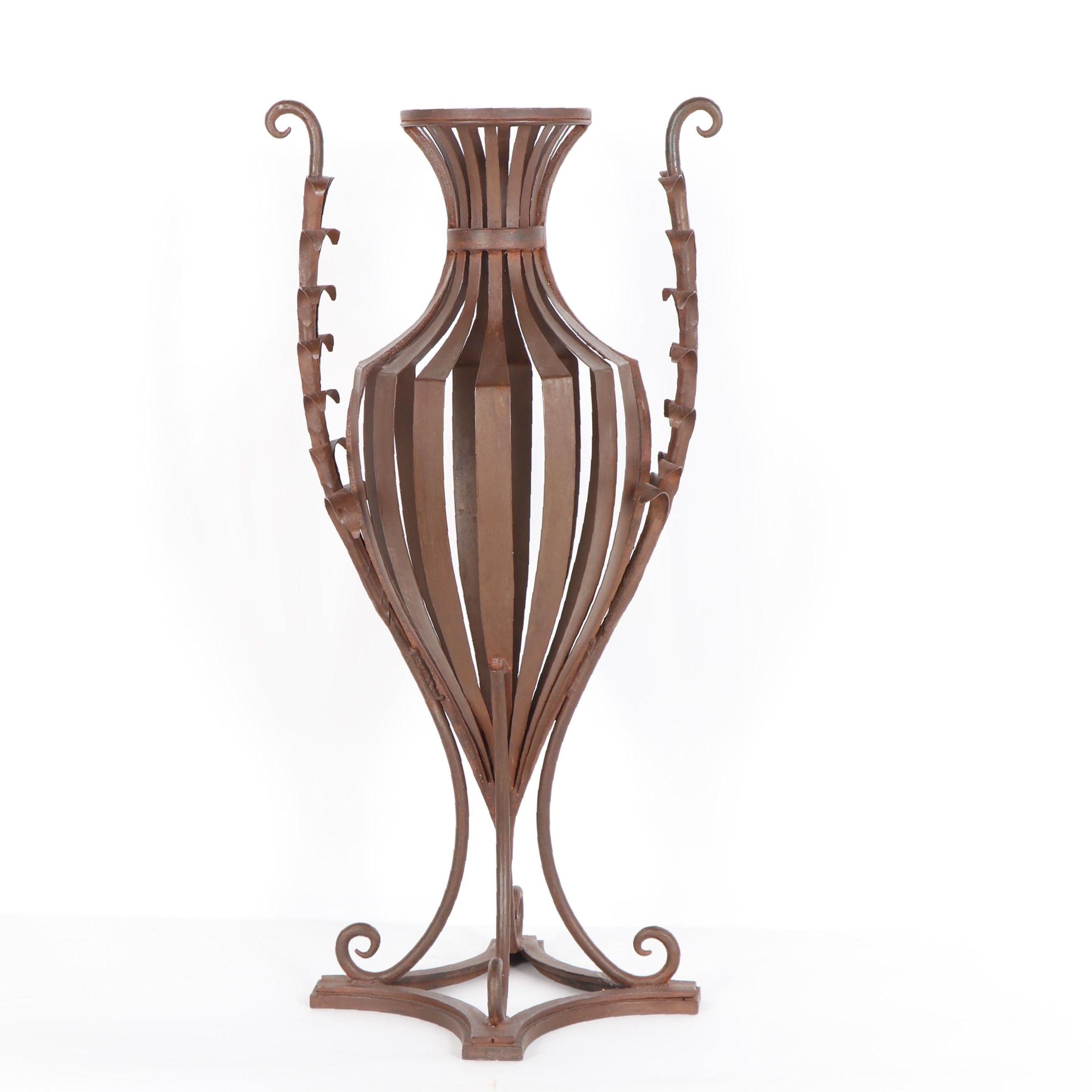 Decorative Metal Urn Form Floor Vase