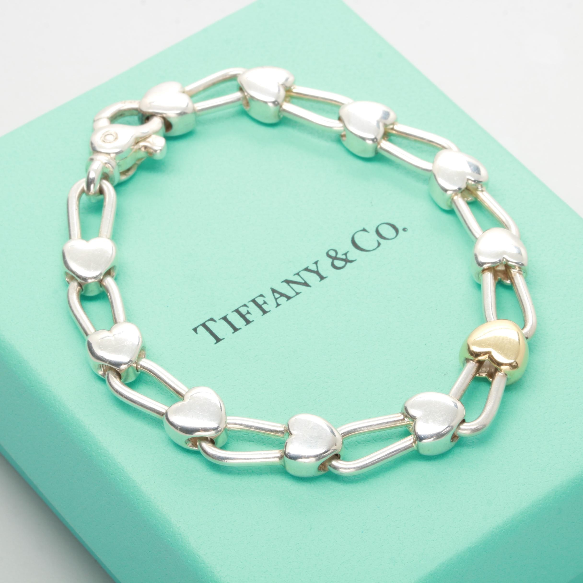 Tiffany & Co. Sterling Silver and 18K  Yellow Gold Heart Motif Bracelet