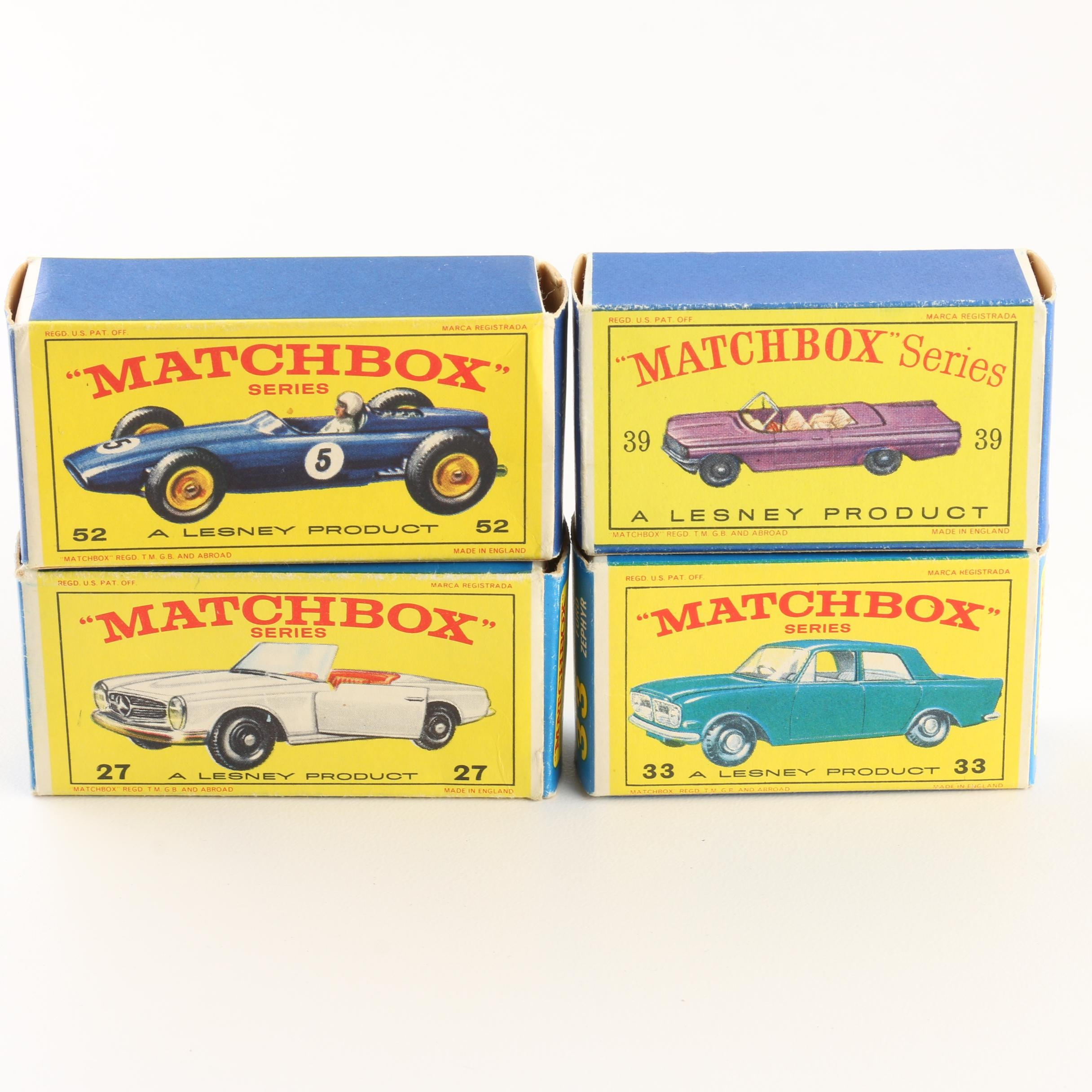 Four 1960s Matchbox Cars Including 1966 #27 Mercedes 230 SL
