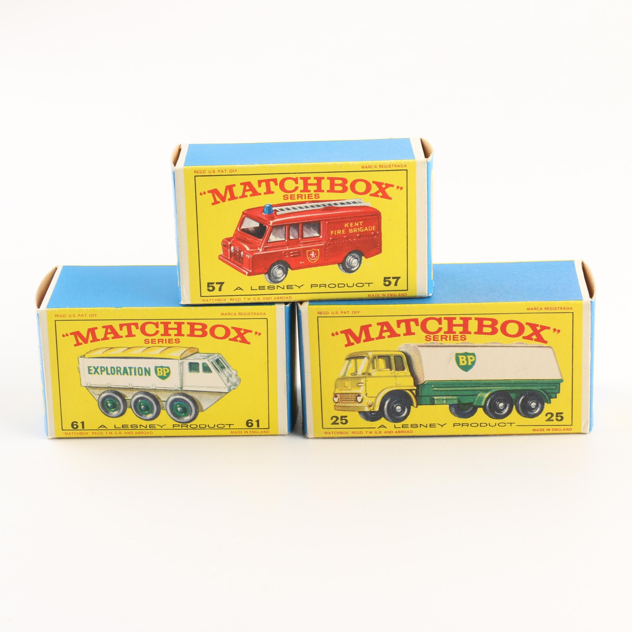 Group of Three 1960s Matchbox Cars Including 1966 #61 BP Exploration Vehicle
