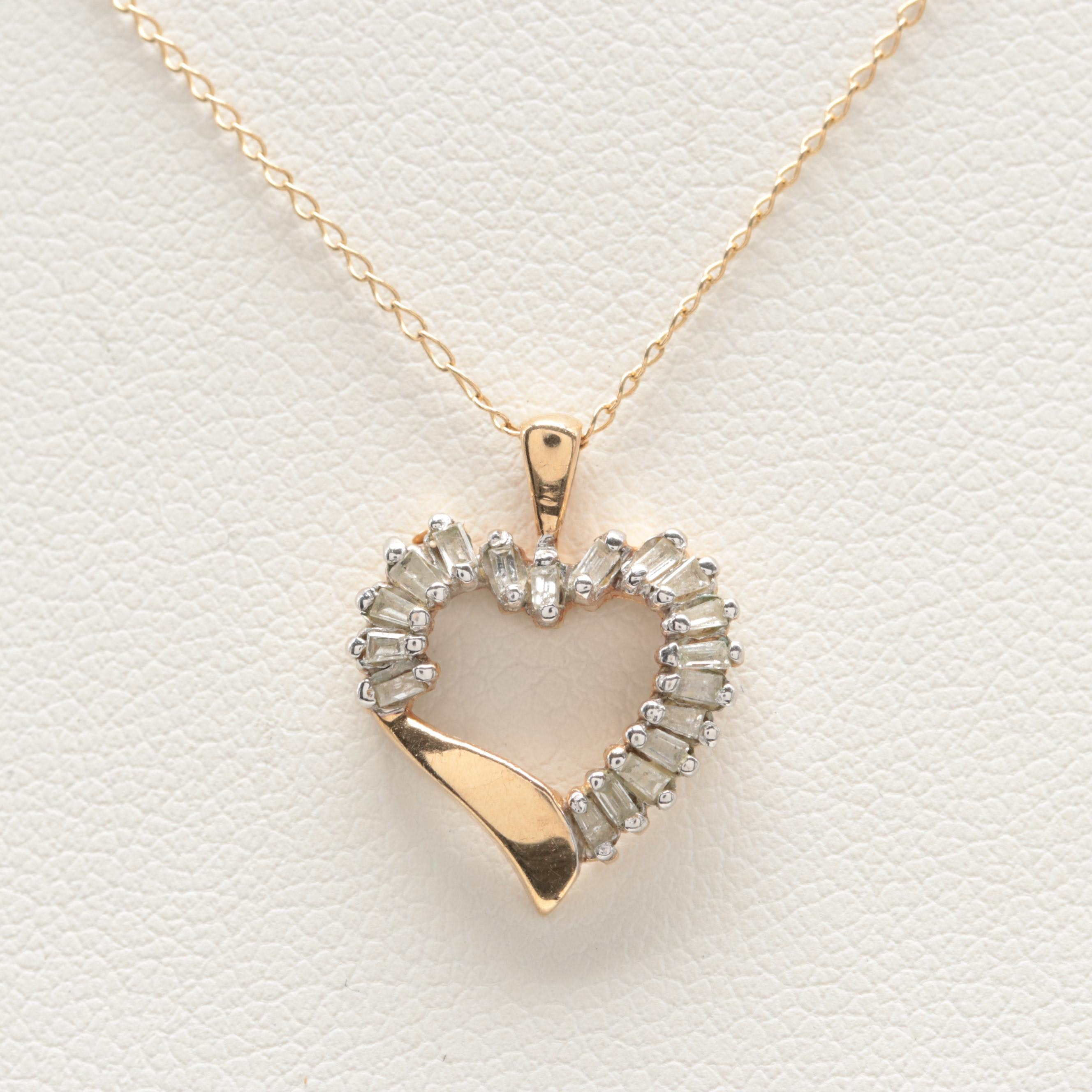 10K Yellow Gold Diamond Necklace