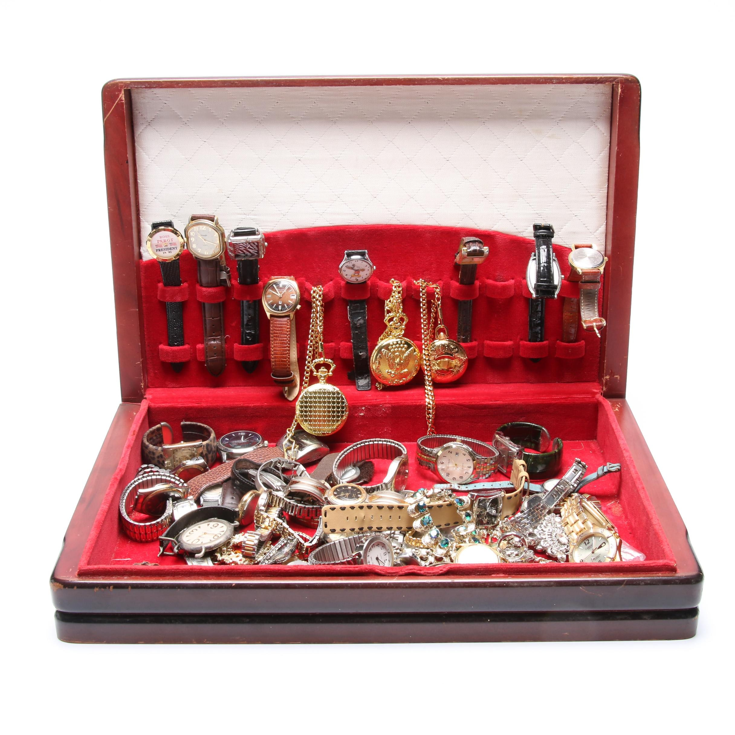 Box of Watches and Costume Jewelry