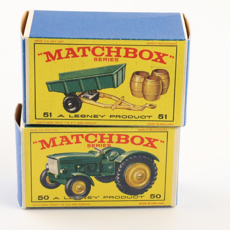 Group of 1960s Matchbox Cars Including #50 John Deere Tractor
