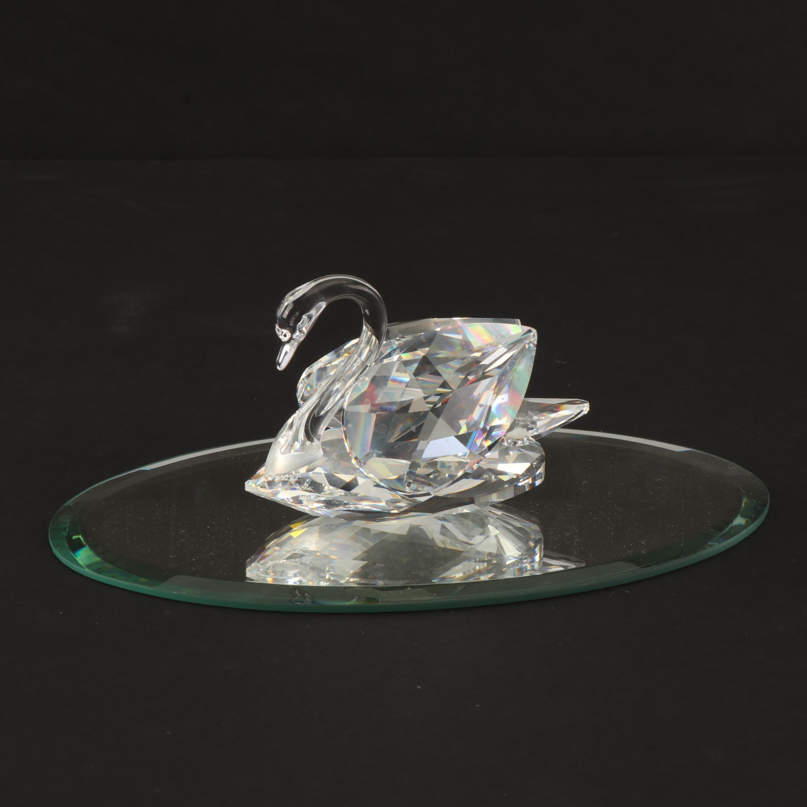 Swarovski Crystal Swan Figurine with Mirror Base