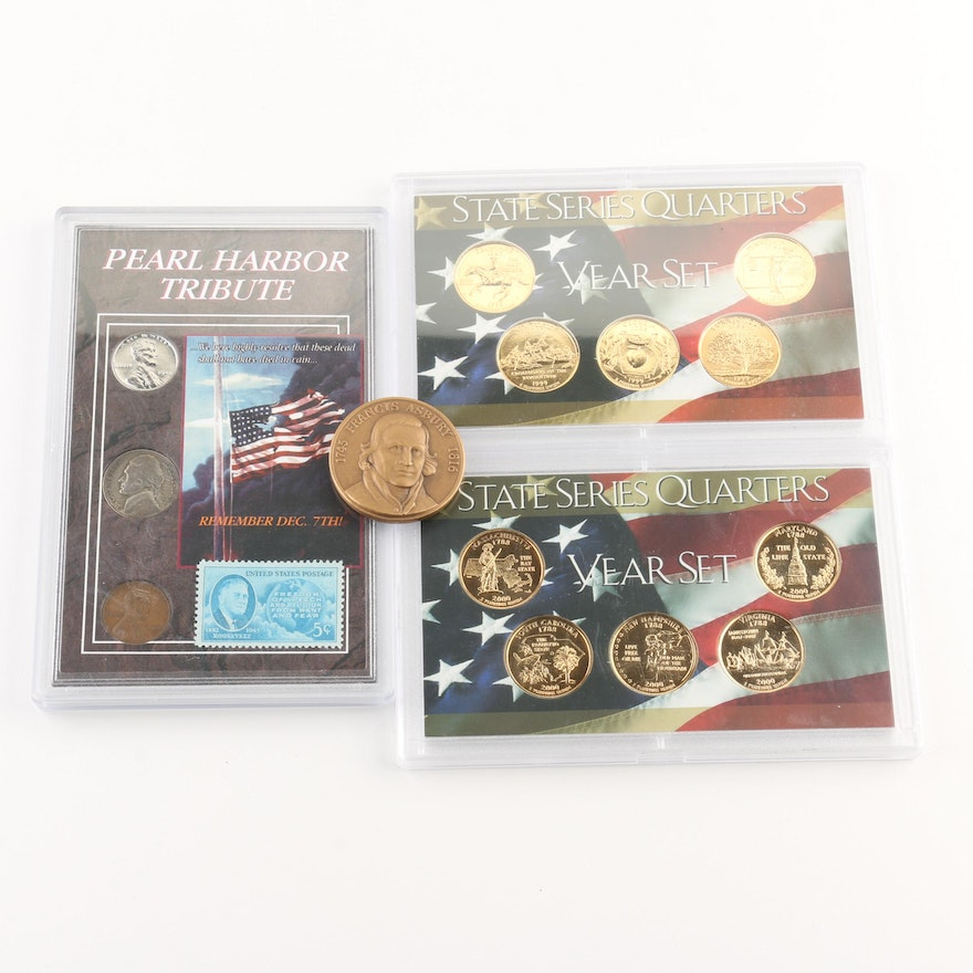 1999 and 2000 Gold Plated Quarter Sets and a Pearl Harbor Tribute Set