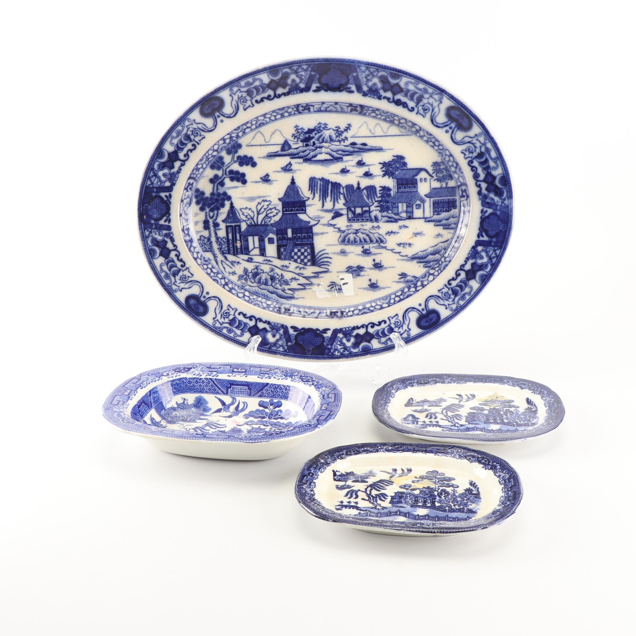 """Antique Serveware Including Wedgwood & Co. """"Blue Willow"""""""