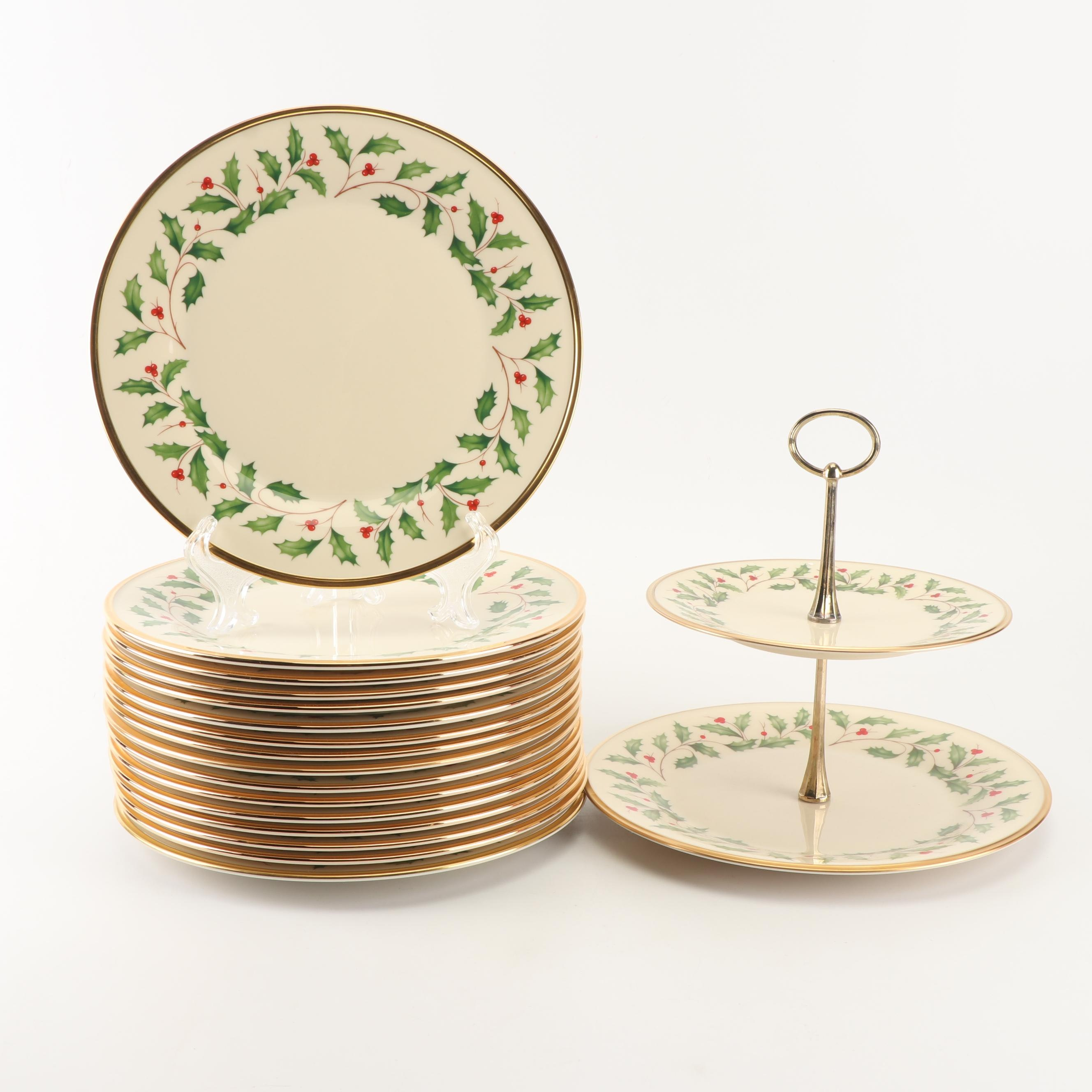 """Lenox """"Holiday"""" Bone China Two-Tiered Serving Platter and Dinner Plates"""