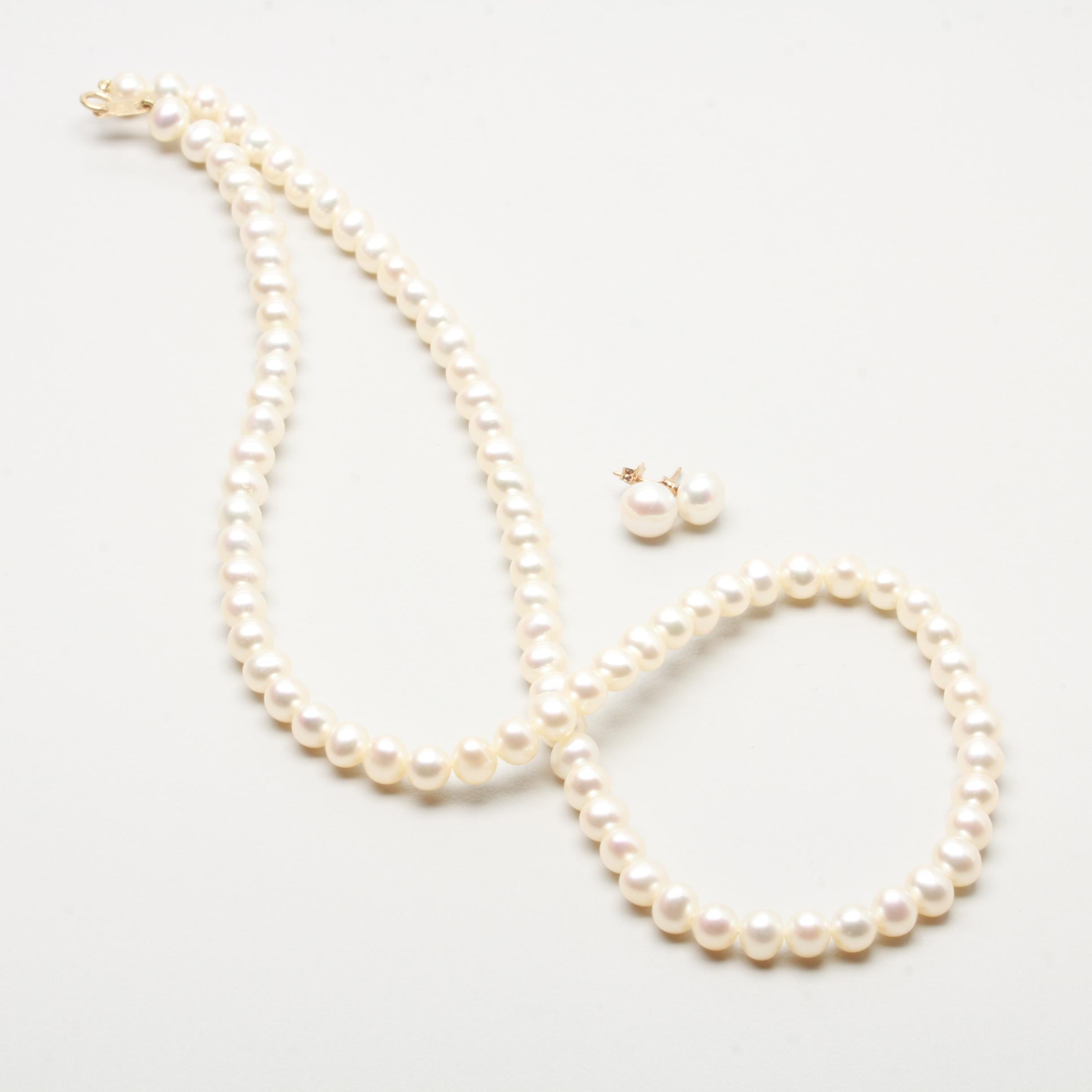 10K Yellow Gold Cultured Pearls Necklace and Earrings