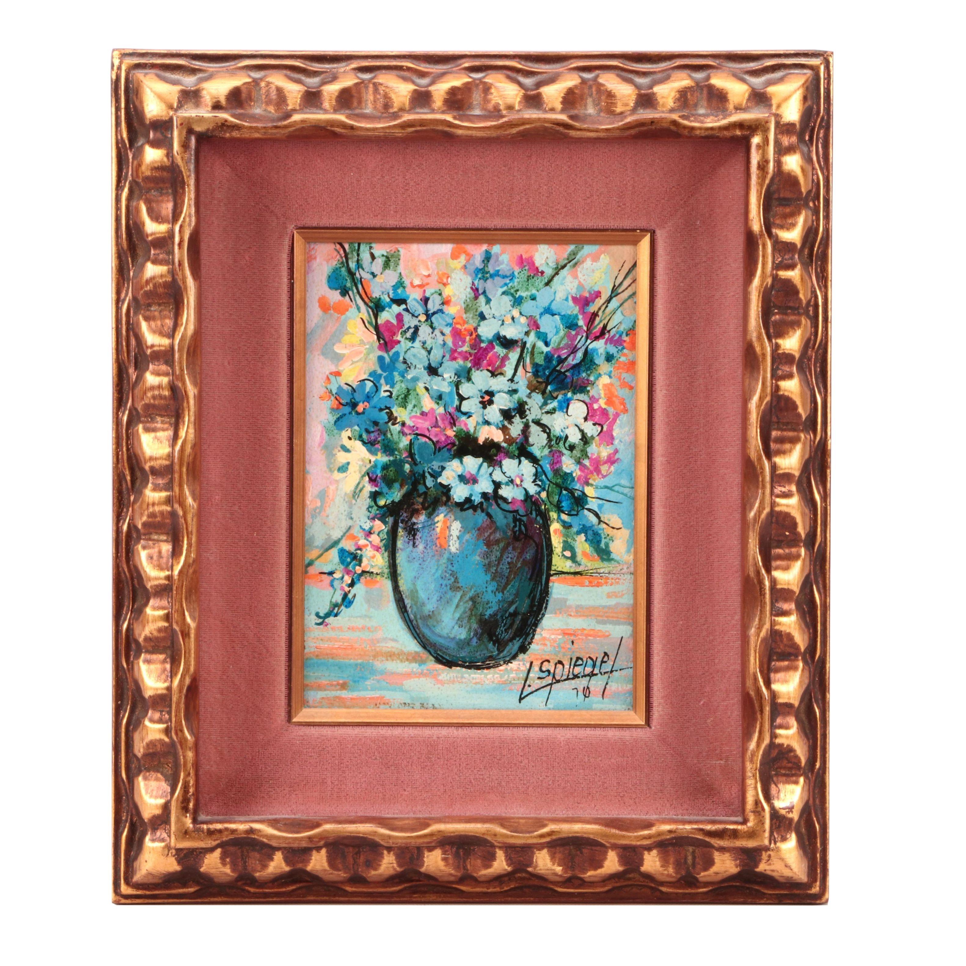 Louis Spiegel 1970 Floral Oil Painting