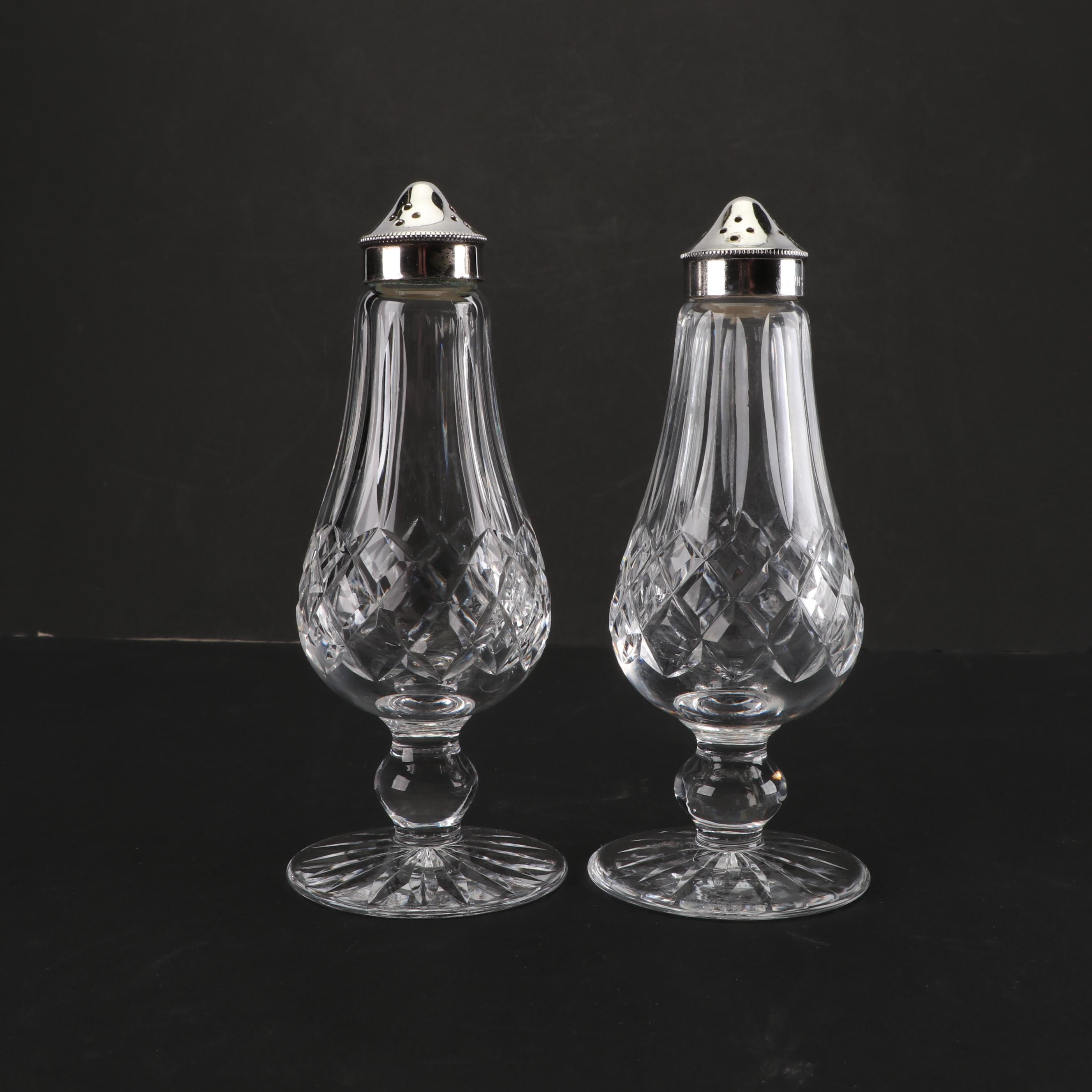 """Waterford Crystal """"Lismore"""" Footed Salt and Pepper Shakers"""