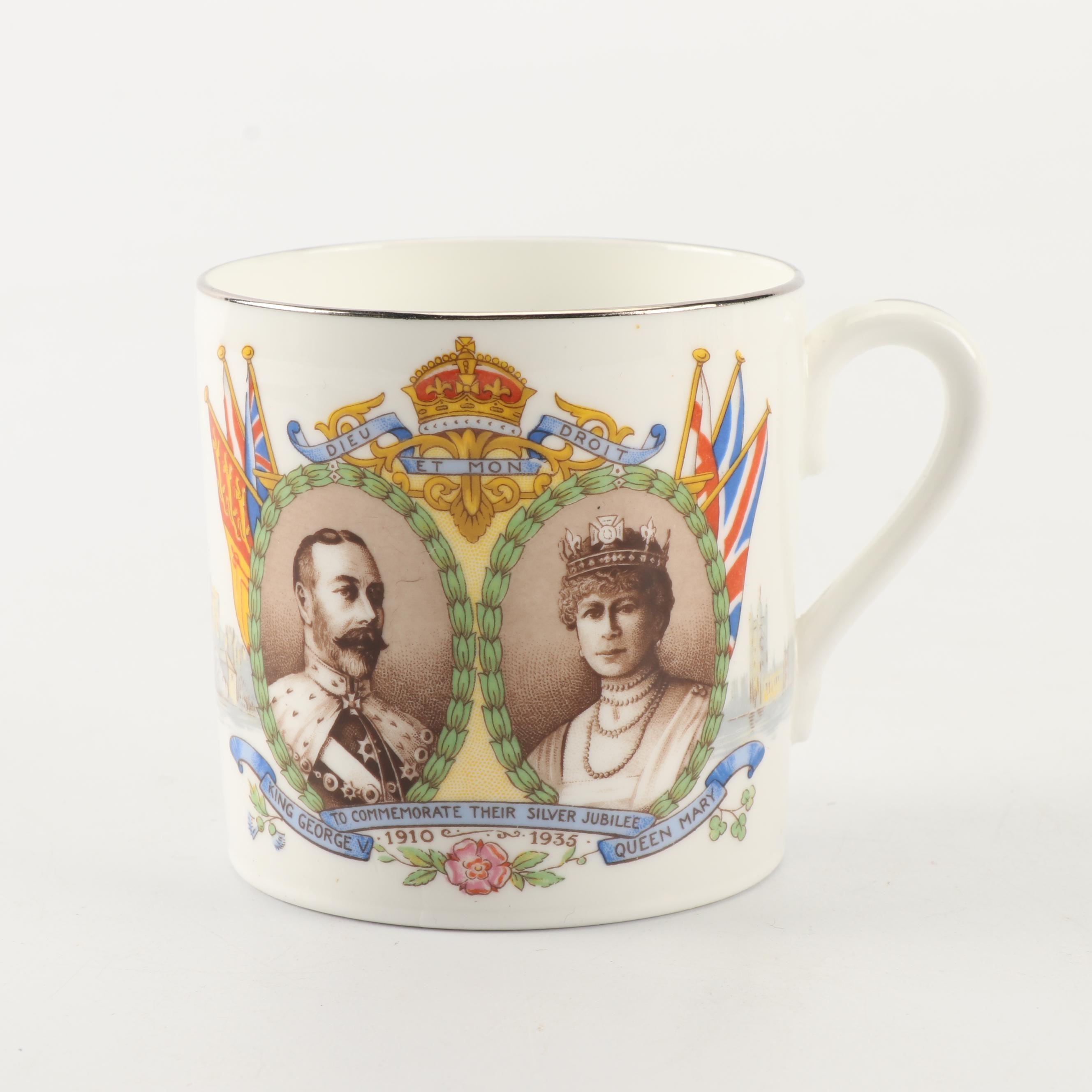 Ansley George V and Queen Mary Silver Jubilee Commemorative Bone China Mug, 1935