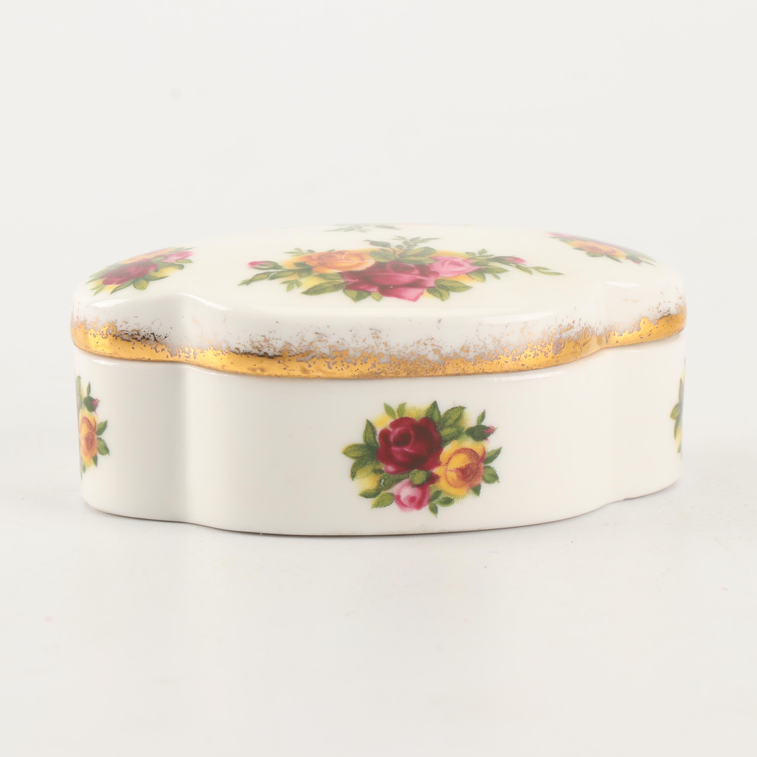 "Royal Albert Hand-Painted ""Old Country Roses"" Bone China Trinket Box"