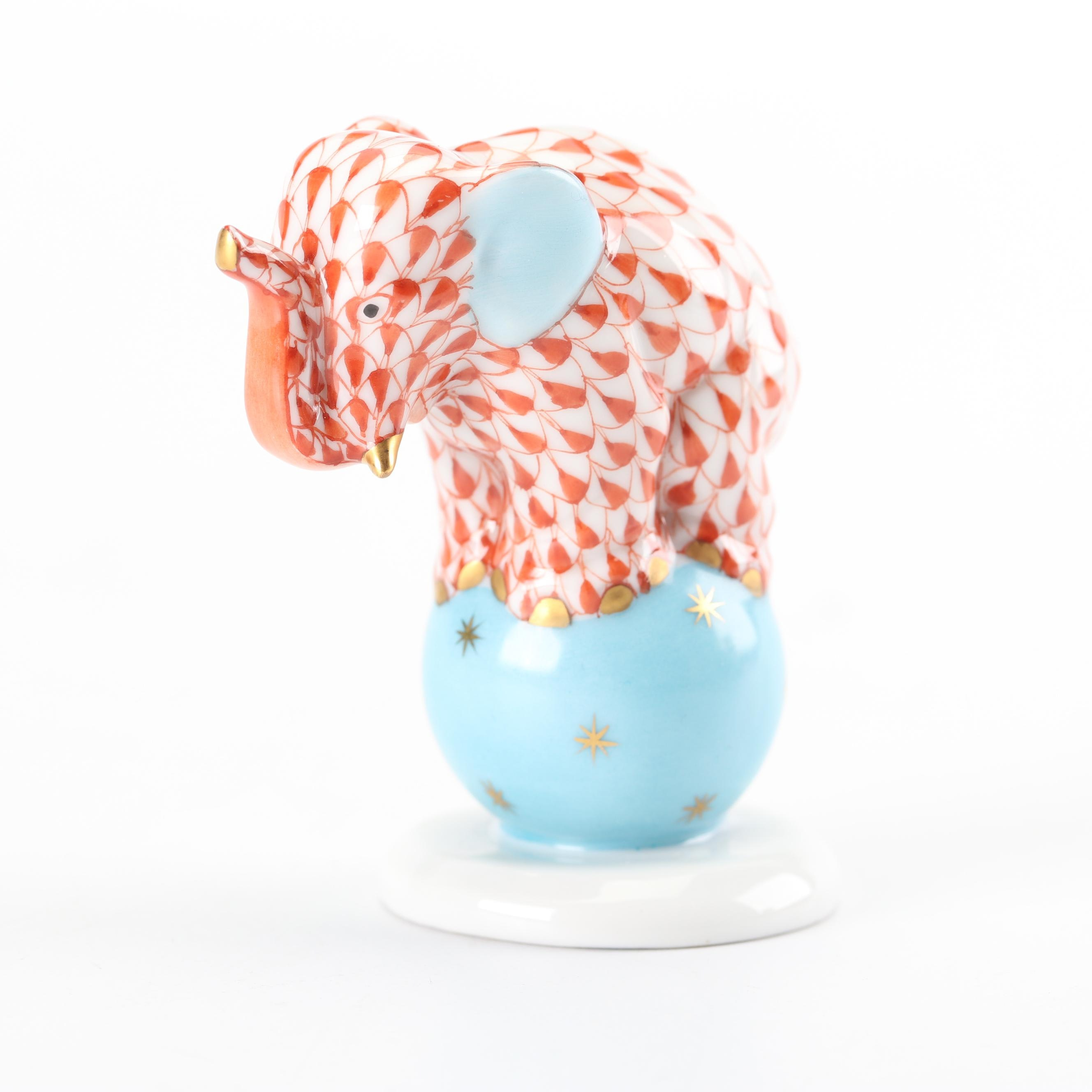"Herend ""Elephant on Ball"" Hand-Painted Porcelain Figurine"