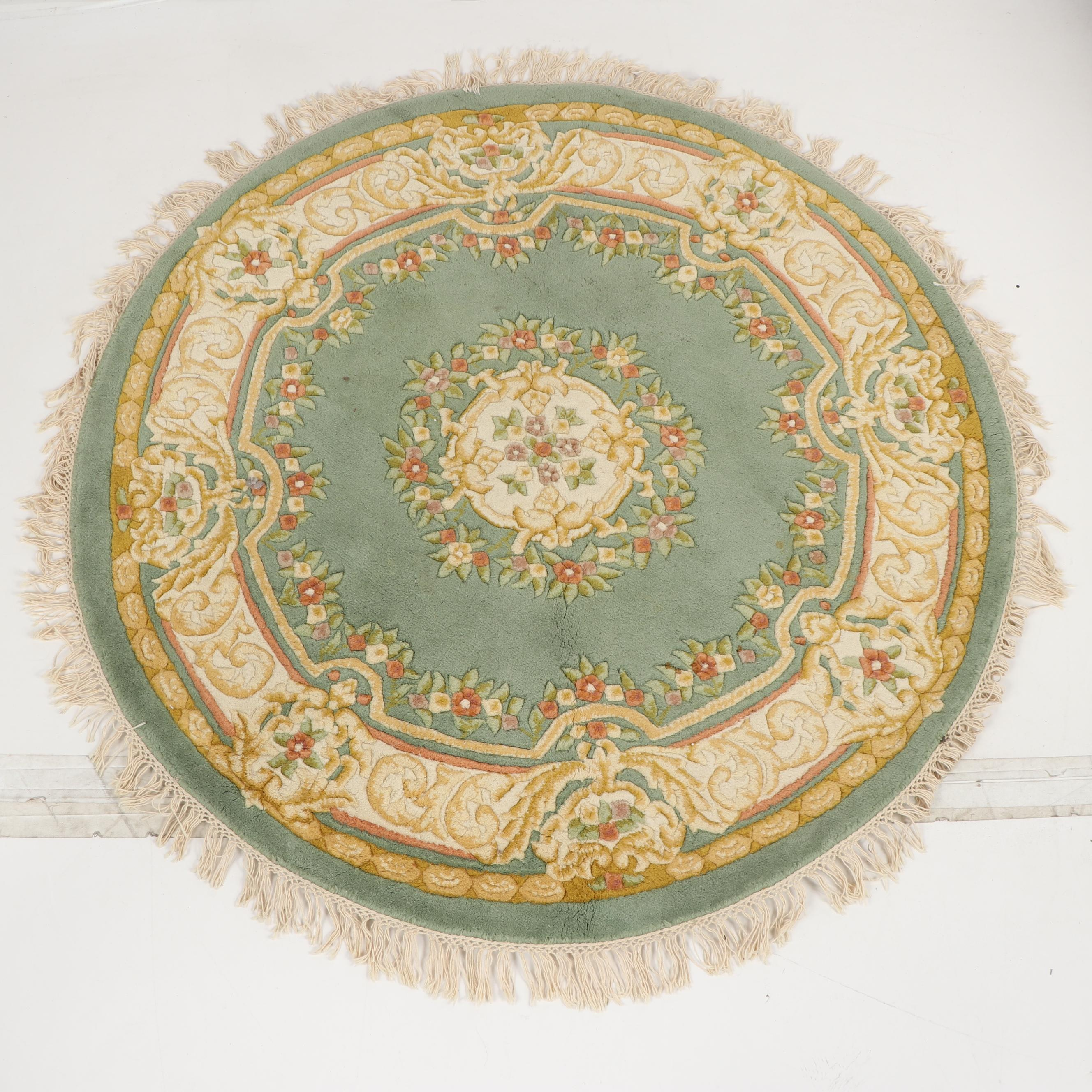 Hand-Knotted Indian Carved Wool Round Rug