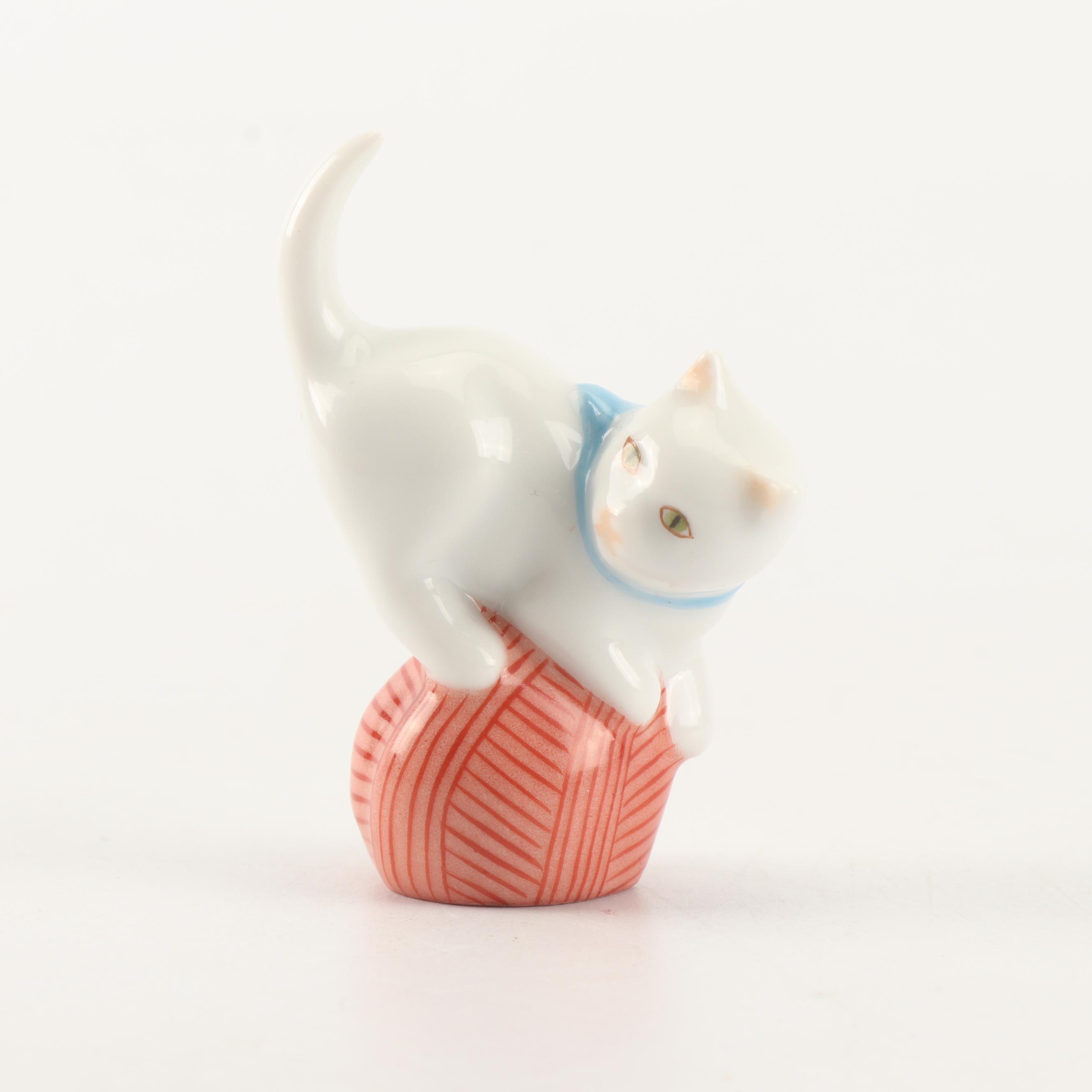 "Herend ""Mischievous Cat"" Hand-Painted Porcelain Figurine"