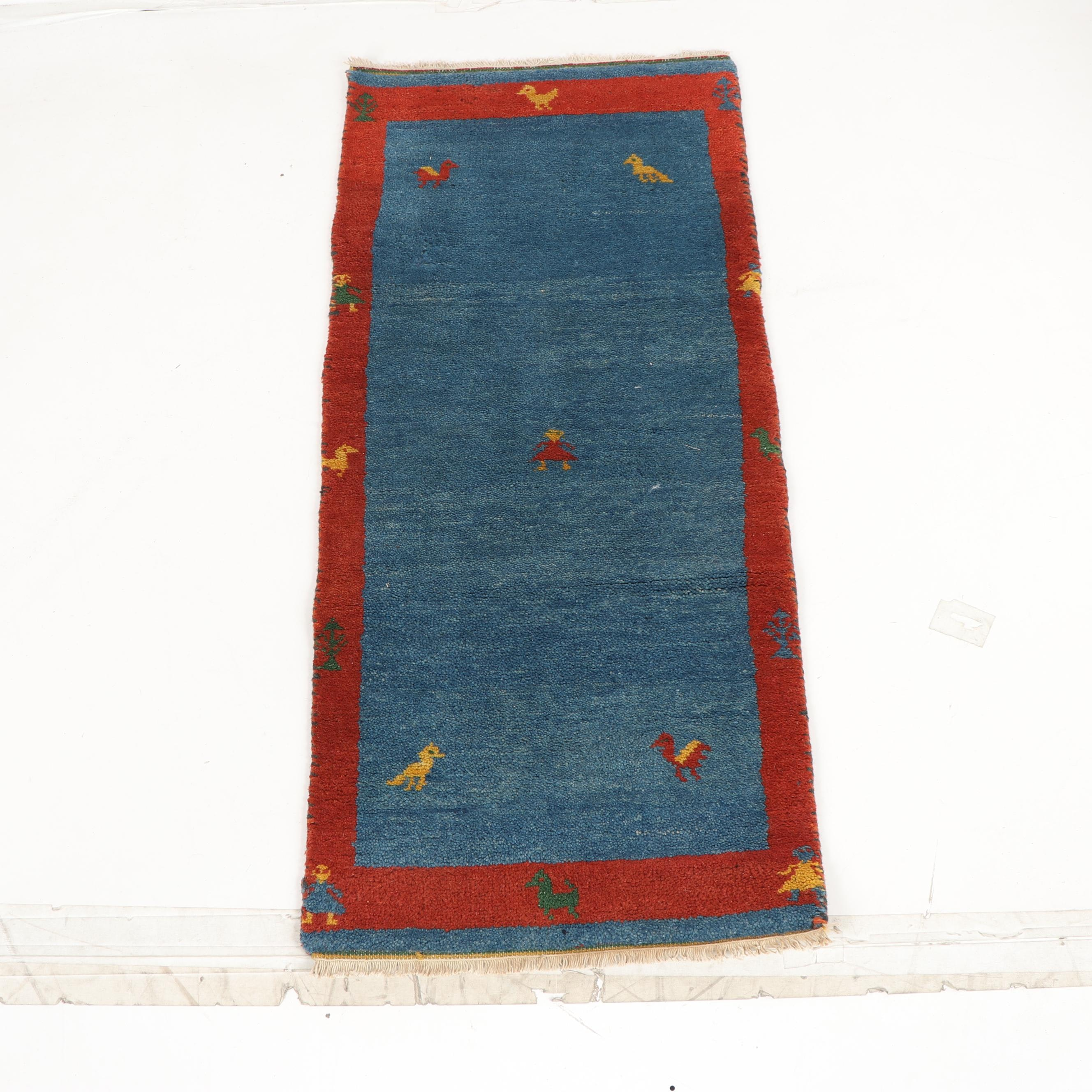 Hand-Knotted Indian Gabbeh Wool Rug
