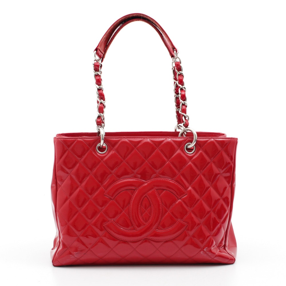 Chanel Quilted Red Patent Leather Shopping Tote