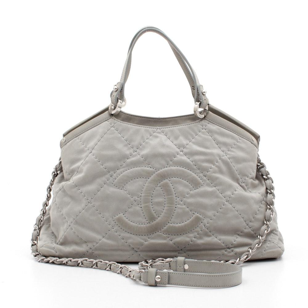 Chanel Quilted Light Grey Lambskin Shoulder Bag