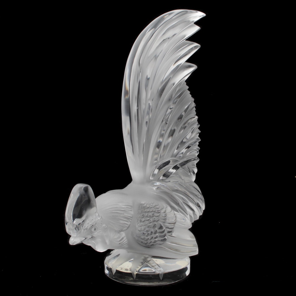 Lalique Rooster Crystal Paperweight