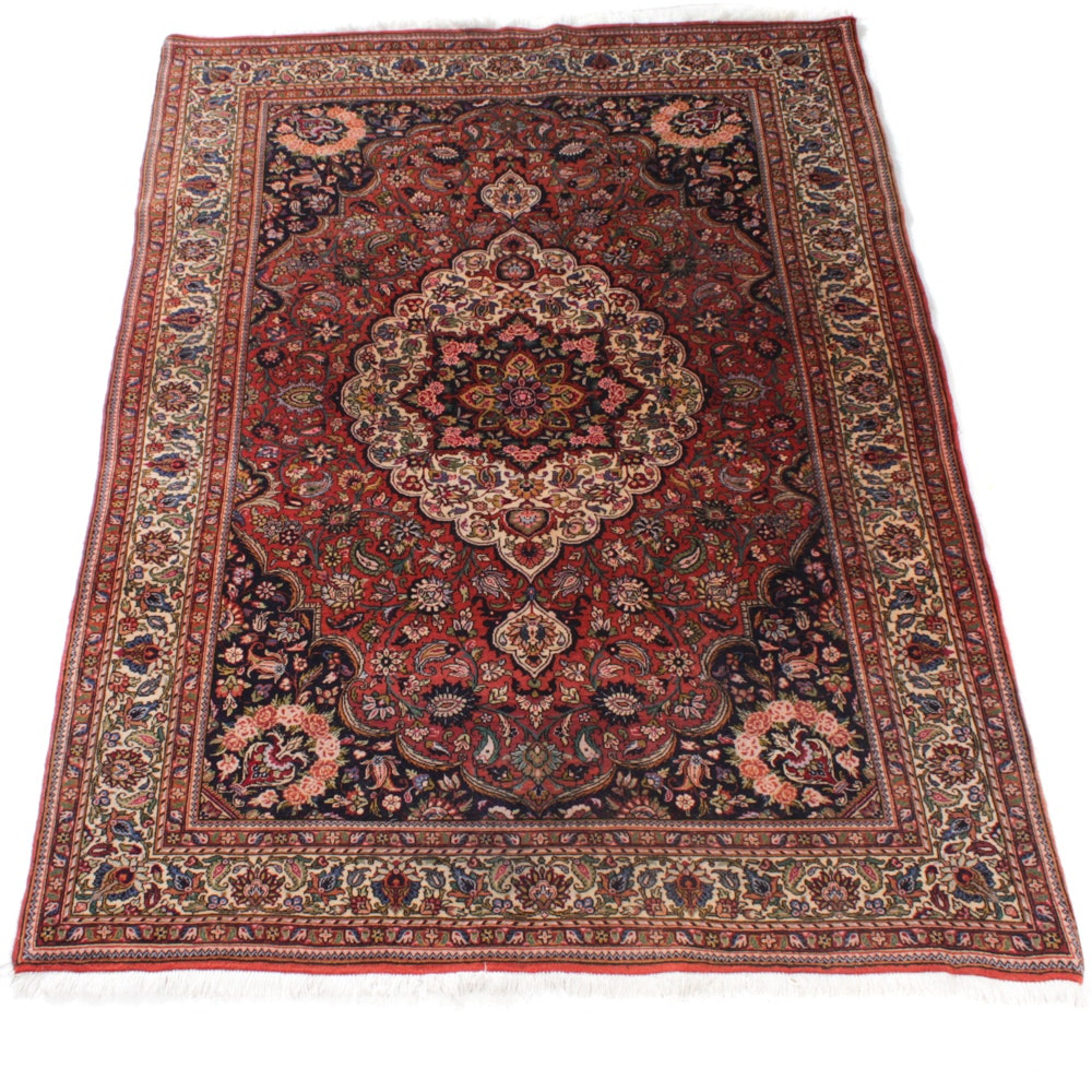 Hand-Knotted Persian Yazd Rug
