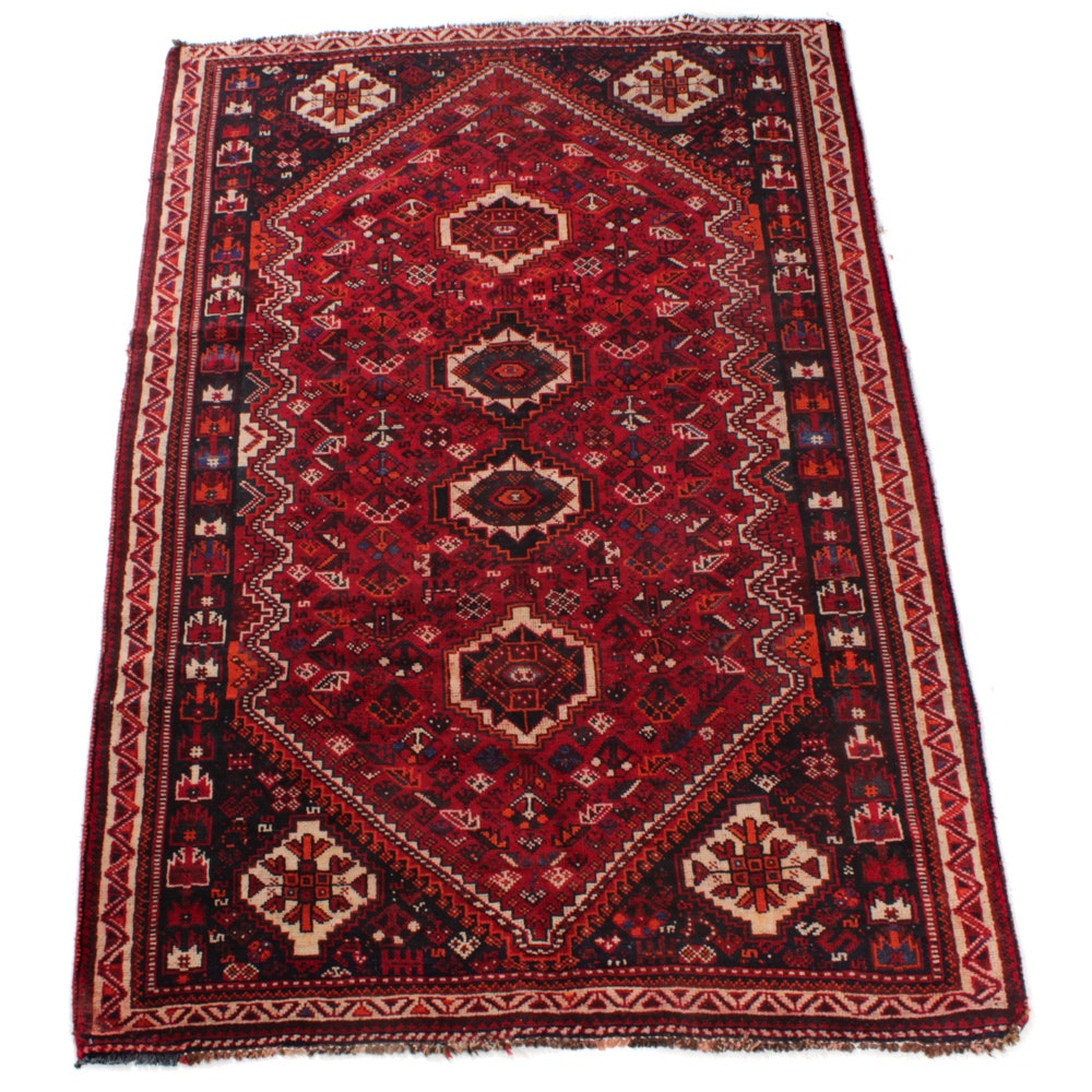 Semi-Antique Hand-Knotted Persian Shiraz Rug