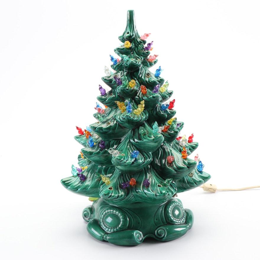 Atlantic Mold Hand Decorated Ceramic Lighted Christmas Tree, Circa ...