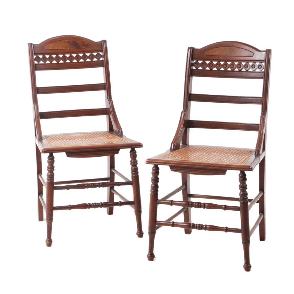 Eastlake Style Walnut Side Chairs with Cane Seats, Early/Mid-20th Century