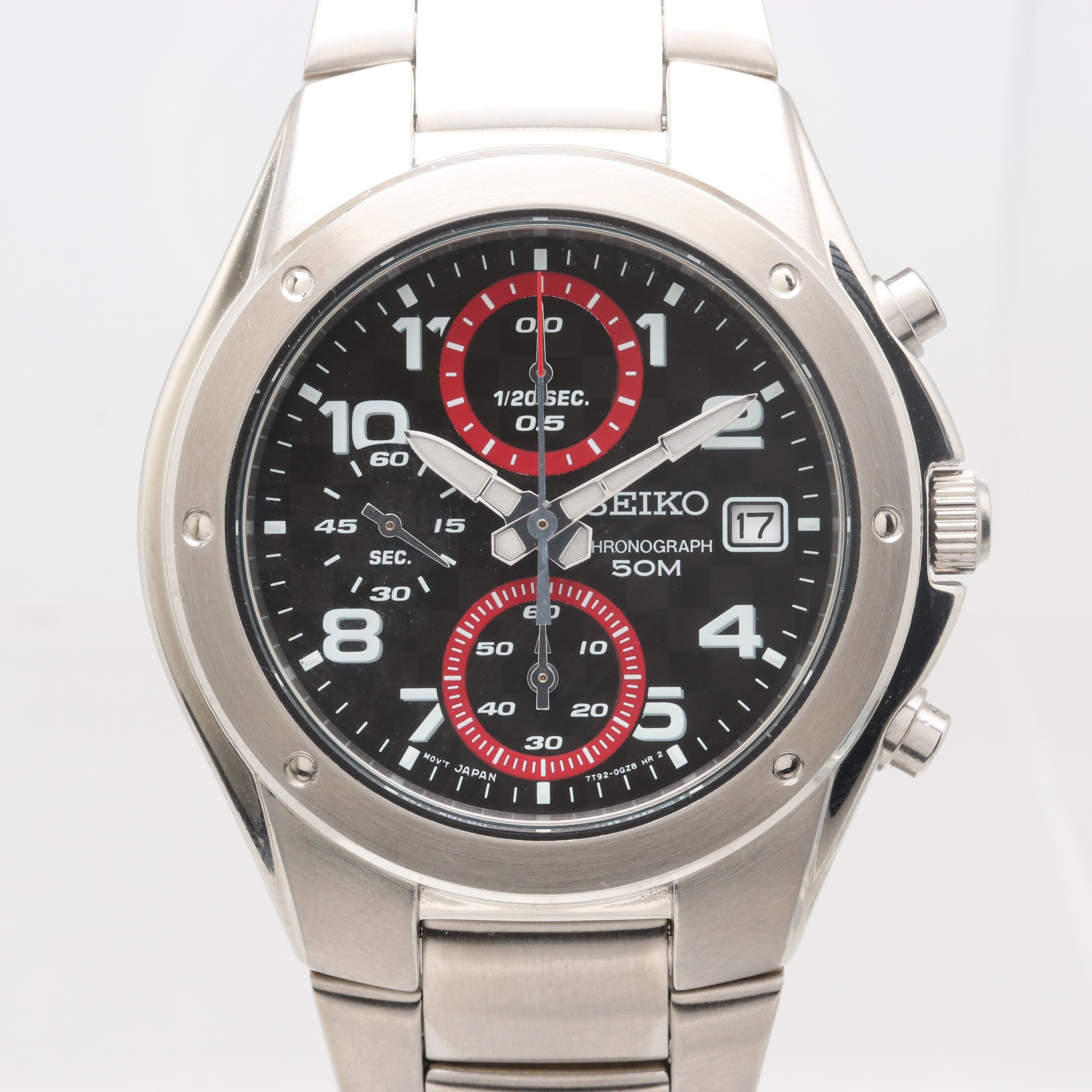 Seiko Stainless Steel Chronograph Wristwatch With Date Window