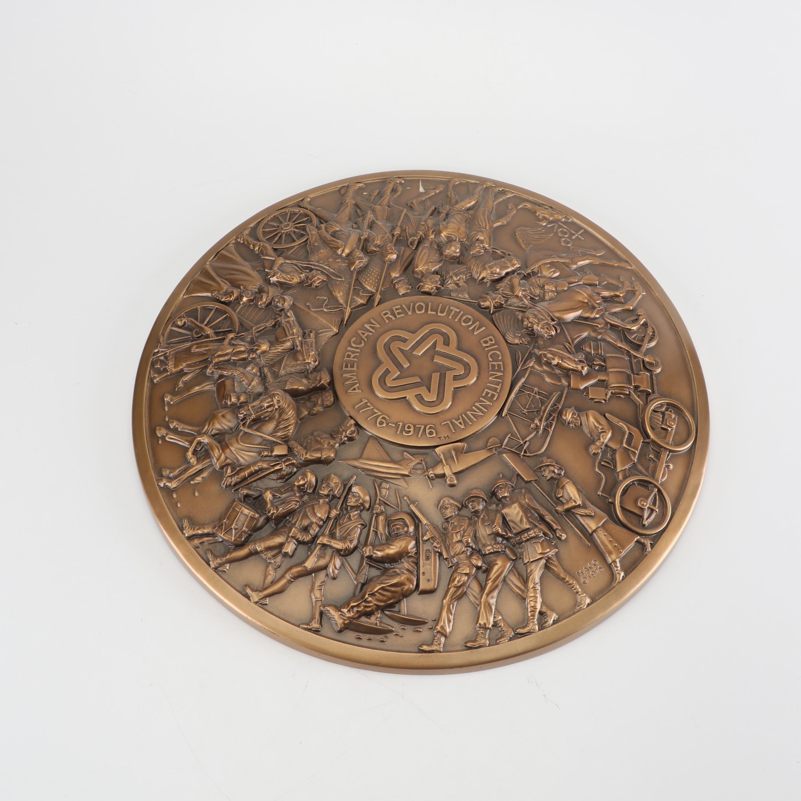 L/E Medallic Art Co. American Revolution Bicentennial Bronze Plate Copper Plaque