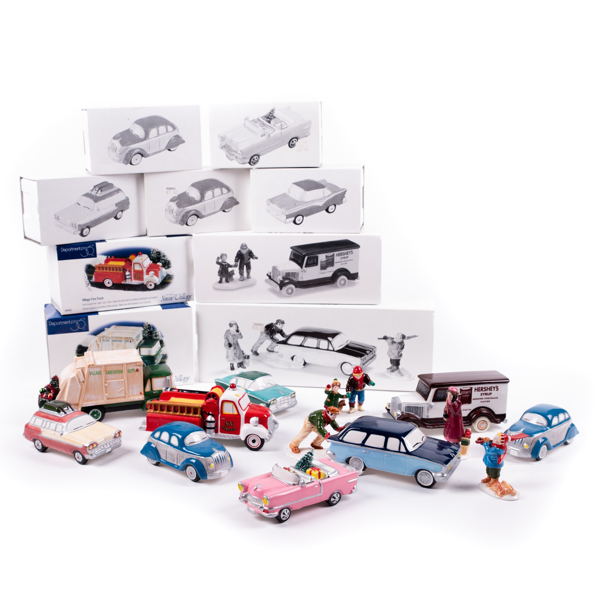 """Department 56 """"The Snow Village"""" Hand-Painted Ceramic Cars and Figures"""