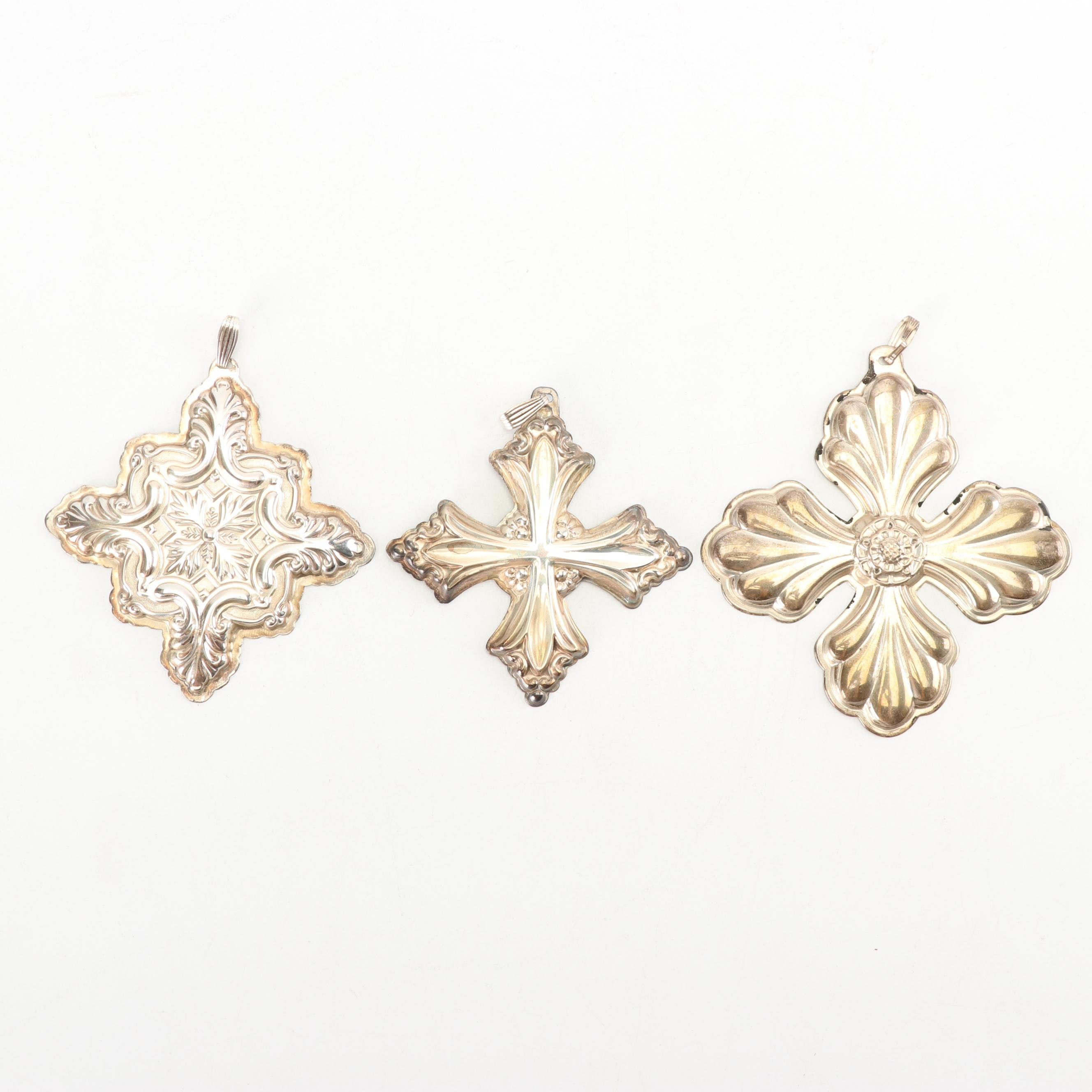 "Reed & Barton Sterling Silver ""Christmas Cross"" Ornaments"